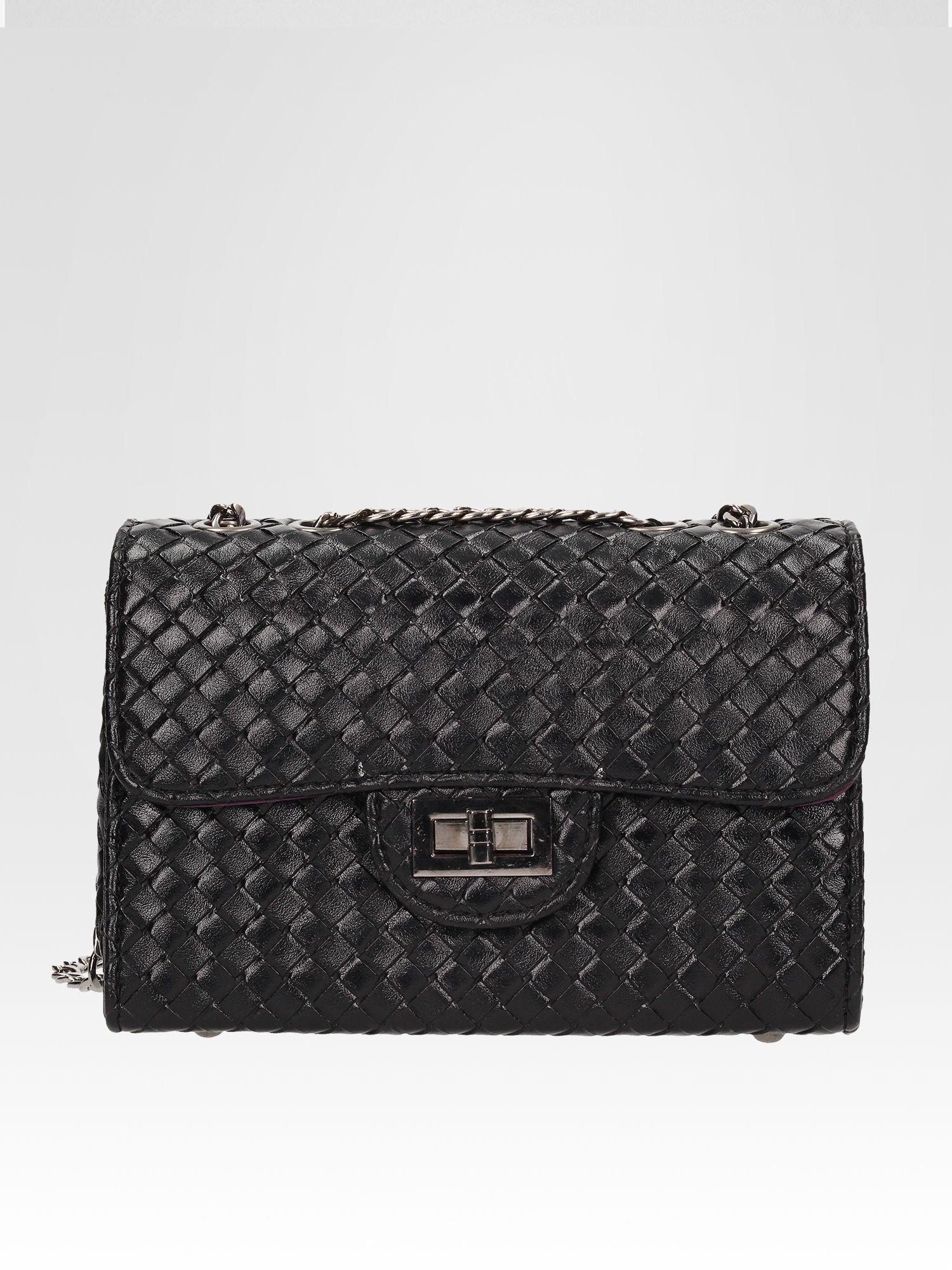 Czarna mała pleciona torebka na łańcuszku                                  zdj.                                  1