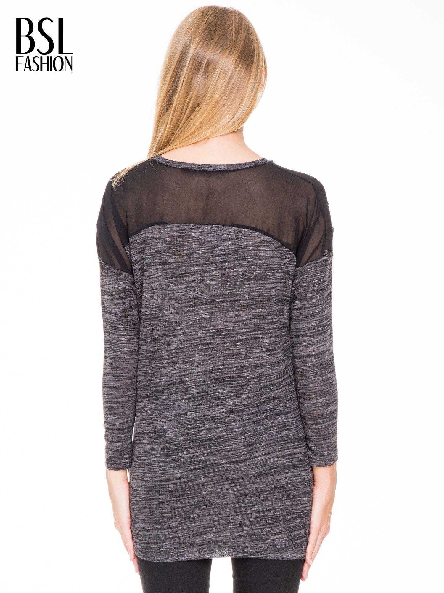 Czarna melanżowa bluzka z tiulowymi wstawkami na ramionach                                  zdj.                                  5