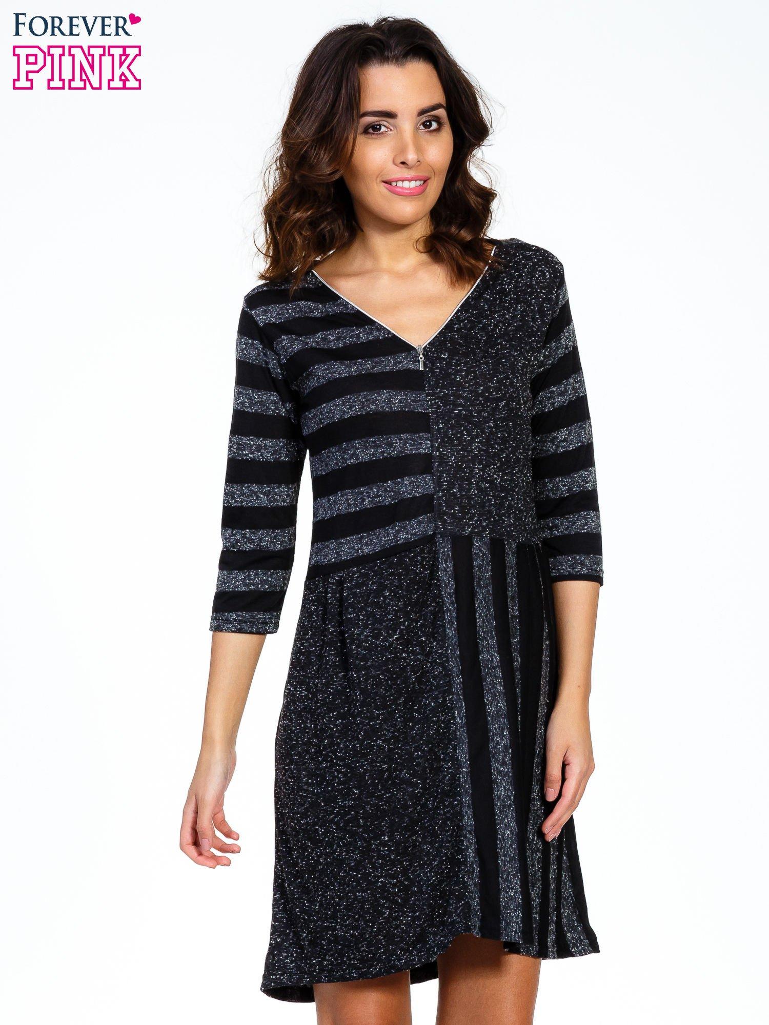 Czarna melanżowa sukienka z motywem pasków                                  zdj.                                  1
