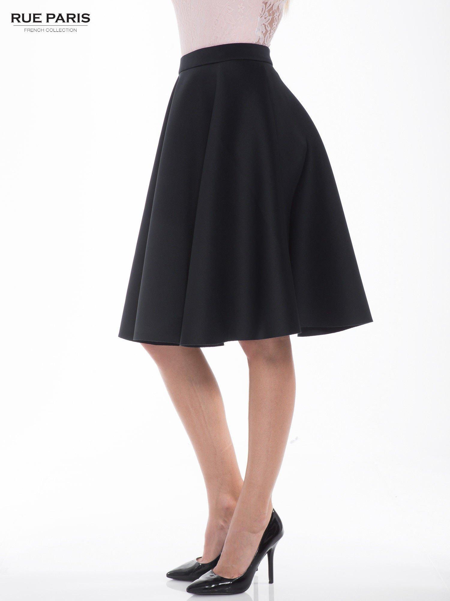 Czarna neoprenowa spódnica midi szyta z koła                                  zdj.                                  3