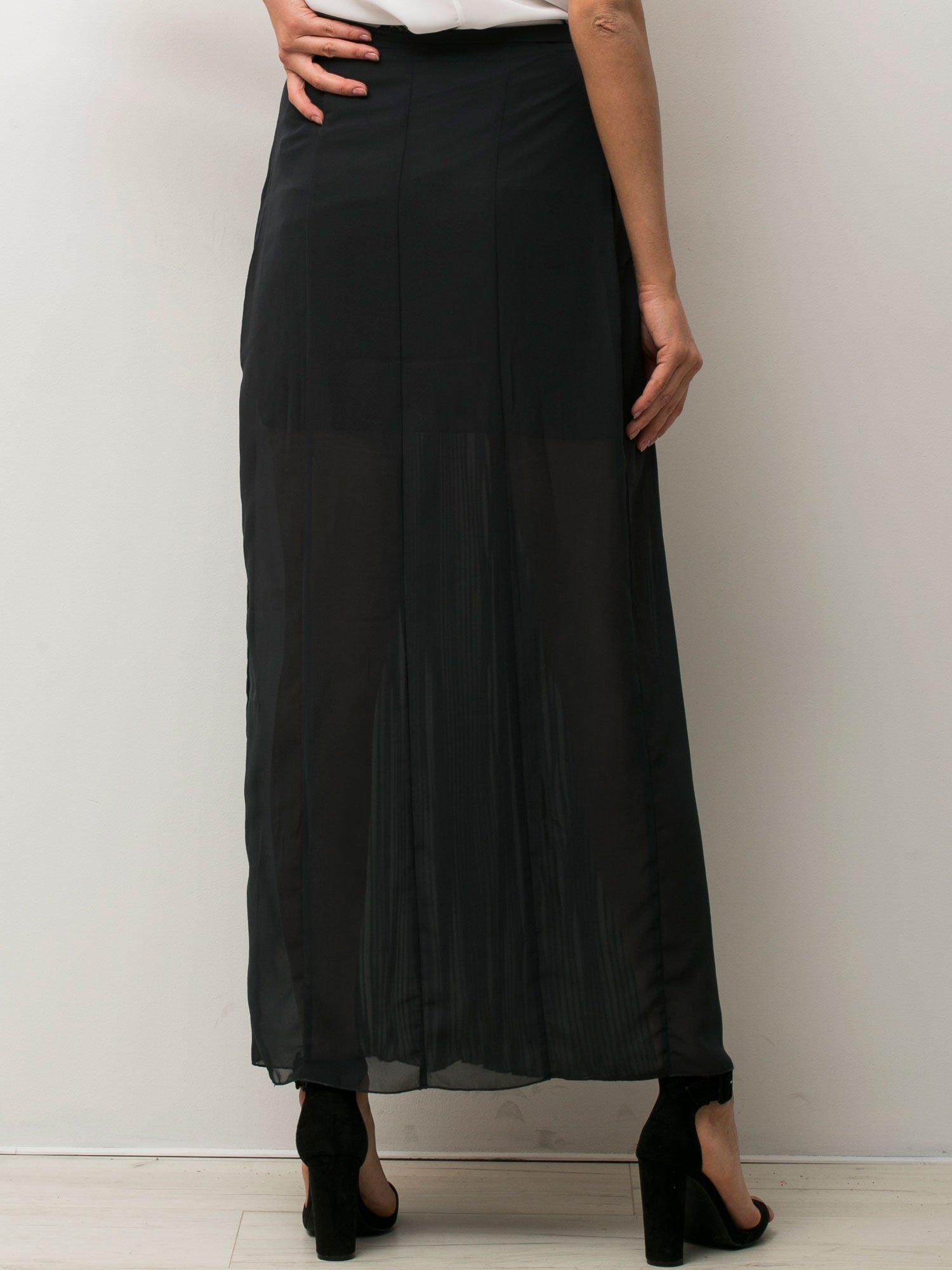 Czarna półtransparentna spódnica maxi plisowana                                  zdj.                                  2