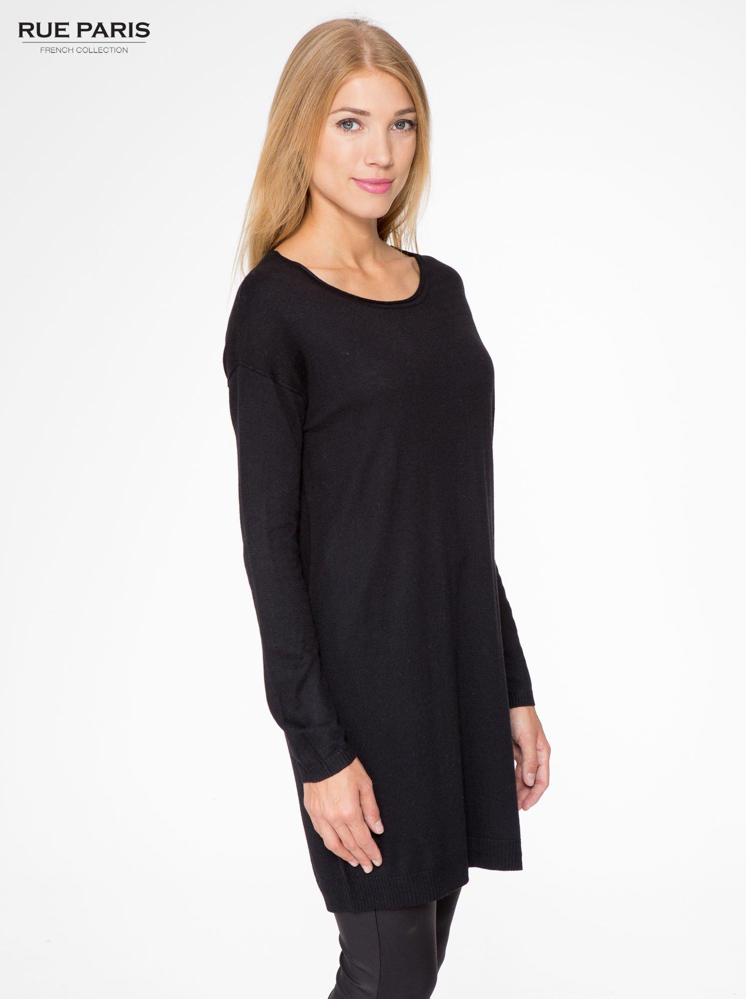 Czarna prosta dzianinowa sukienka                                  zdj.                                  3