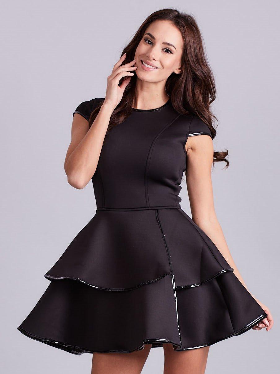 a9678c3ba5 Czarna rozkloszowana sukienka - Sukienka koktajlowa - sklep eButik.pl