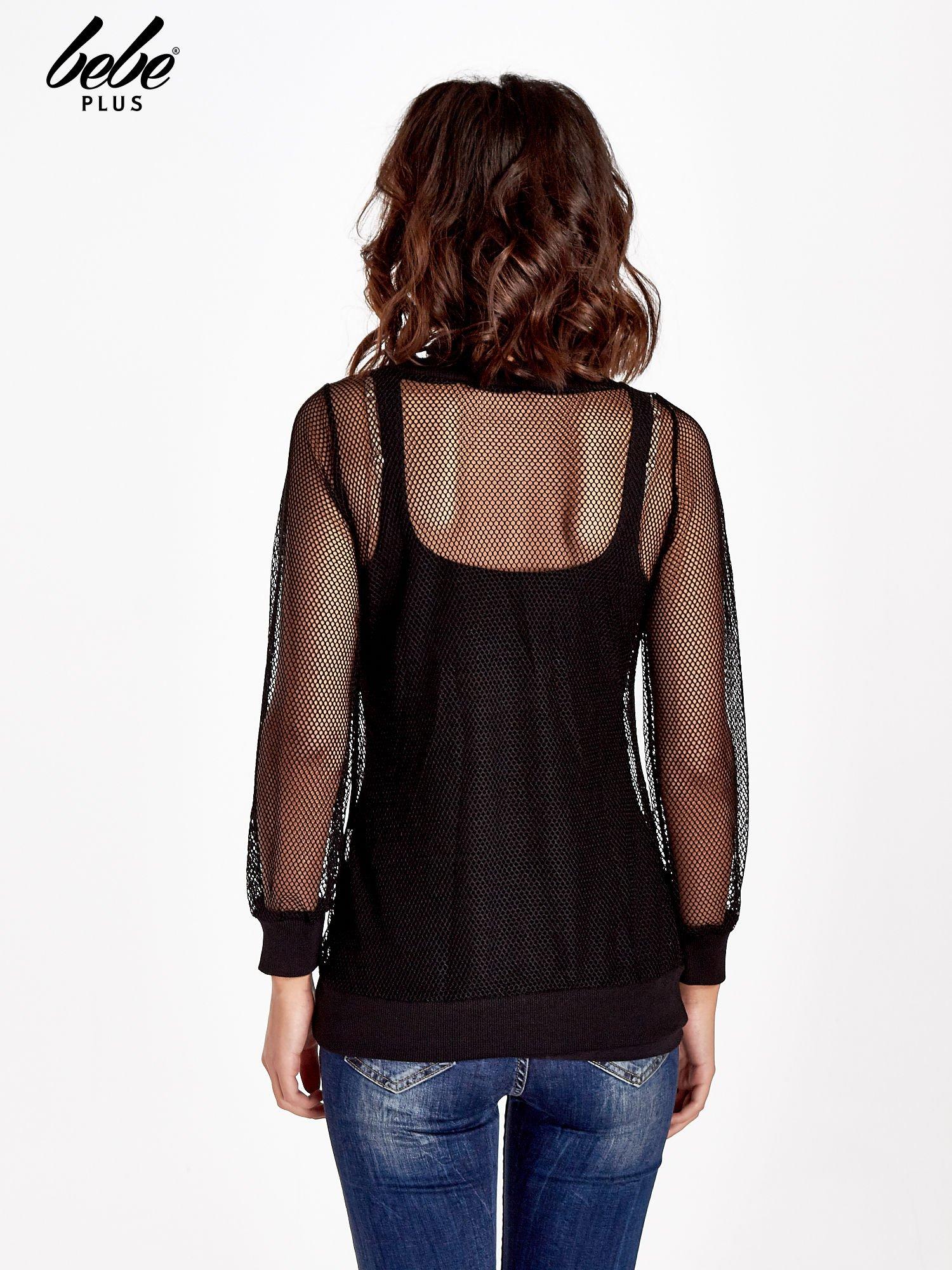 Czarna siatkowa bluzka z efektem glitter                                  zdj.                                  3