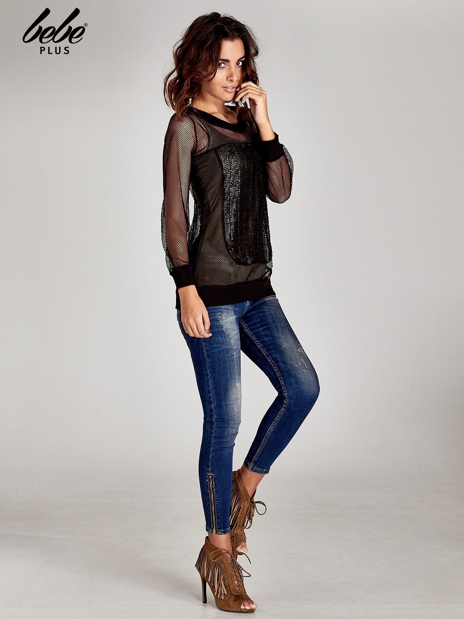 Czarna siatkowa bluzka z efektem glitter                                  zdj.                                  7