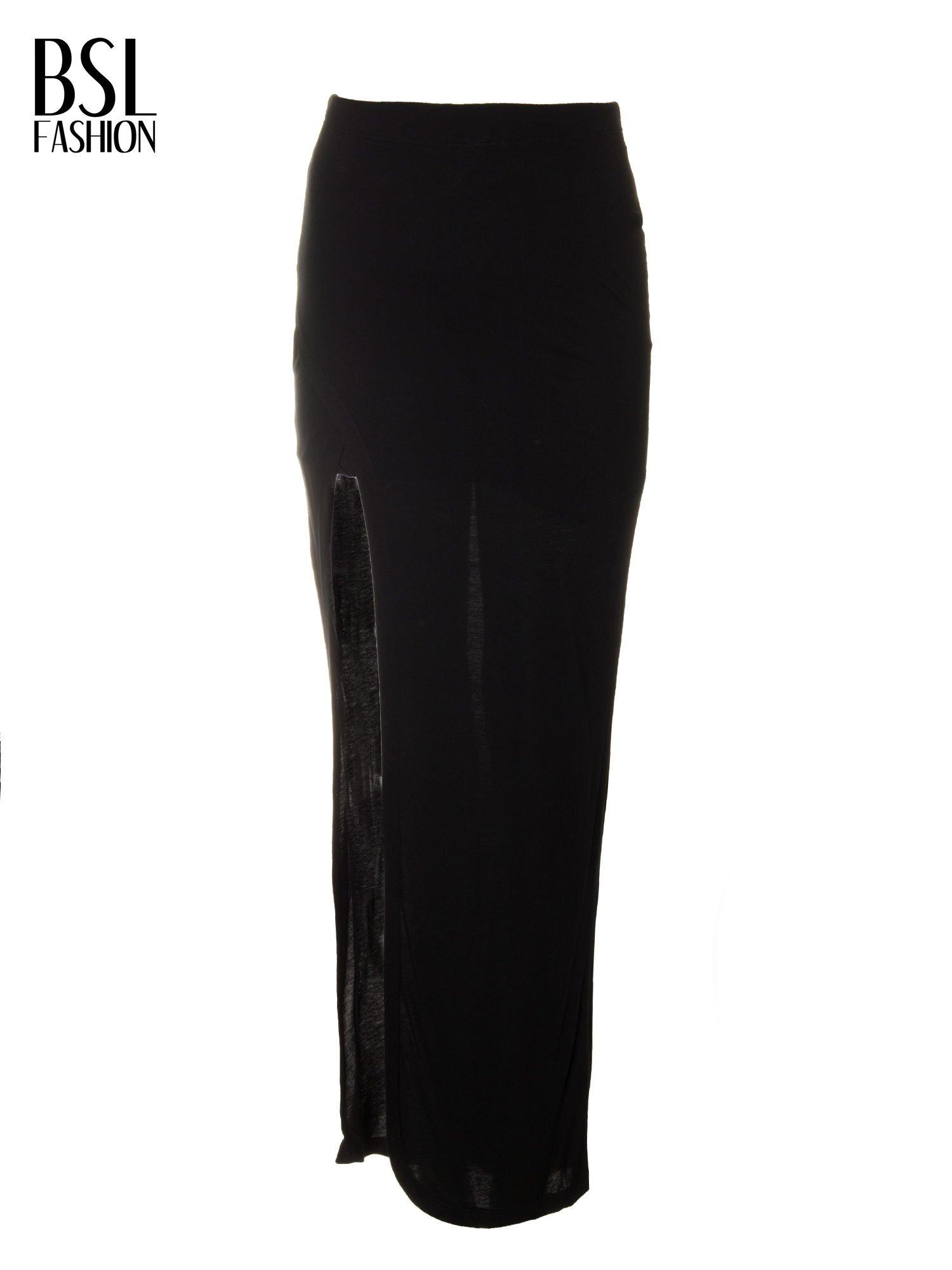Czarna spódnica maxi z dużym rozcięciem z przodu                                  zdj.                                  5