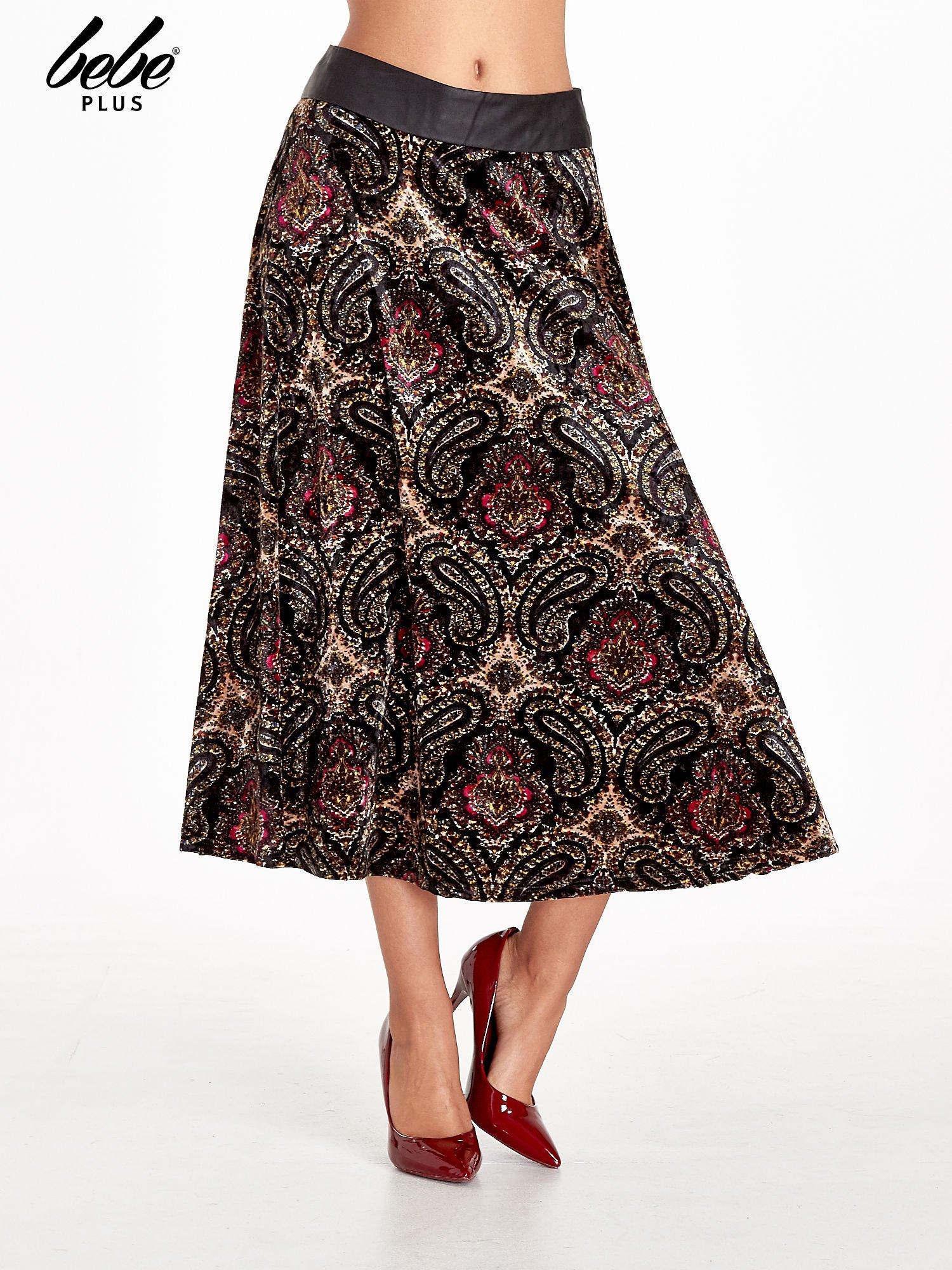 Czarna spódnica midi z nadrukiem ornamentowym                                  zdj.                                  1