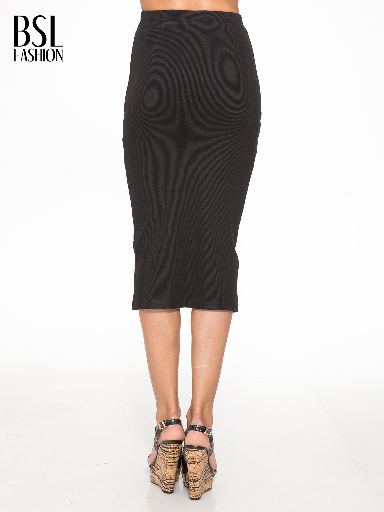 Czarna spódnica midi z suwakiem z przodu                                  zdj.                                  4