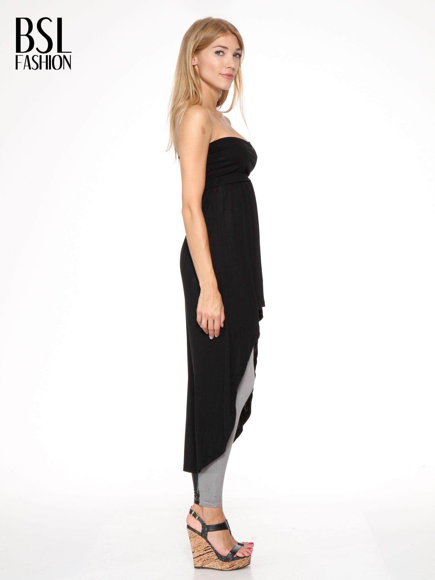 Czarna sukienka bez ramiączek z dłuższym tyłem                                  zdj.                                  5