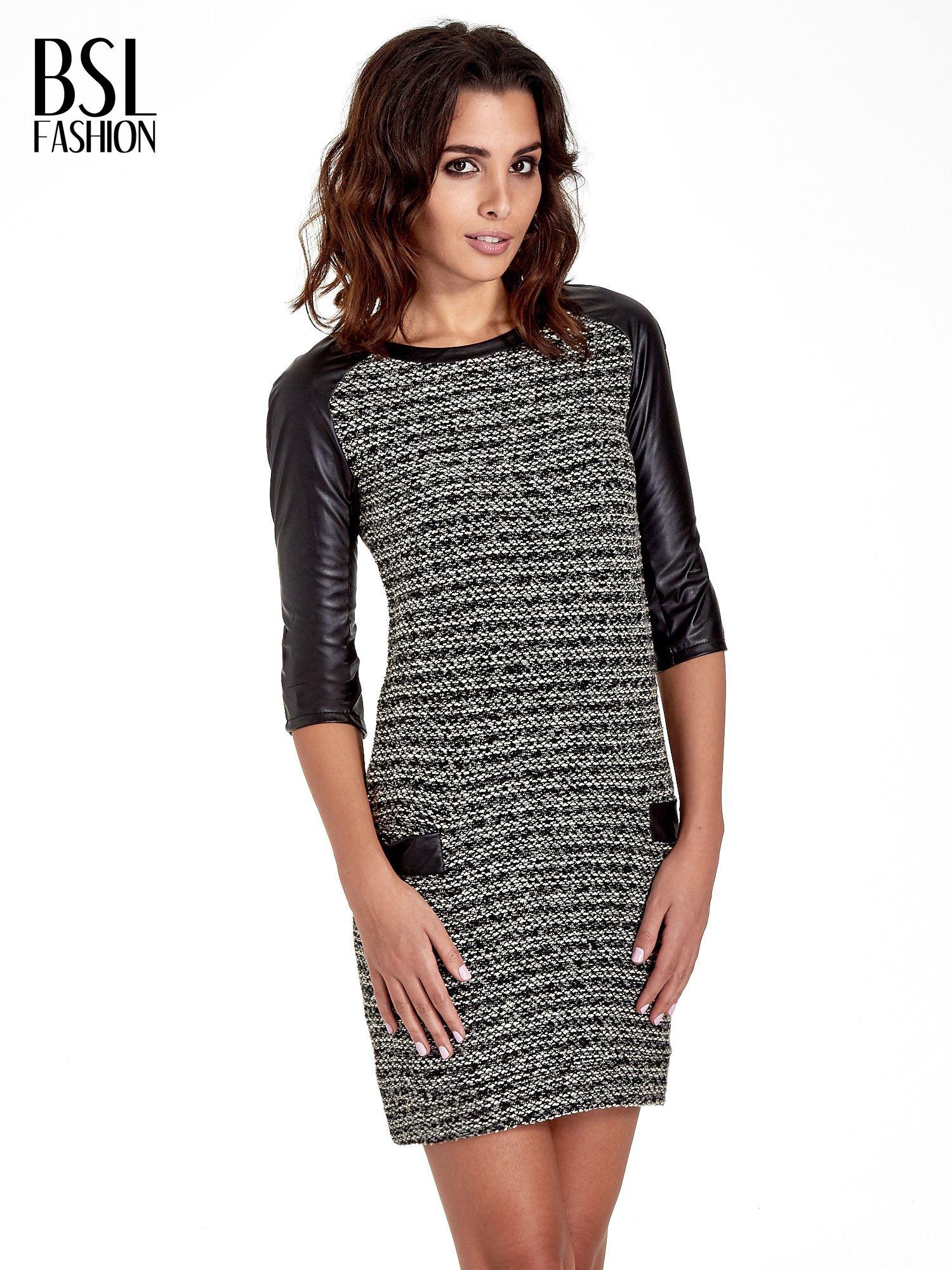 Czarna sukienka bouclé ze skórzanymi rękawami                                  zdj.                                  1