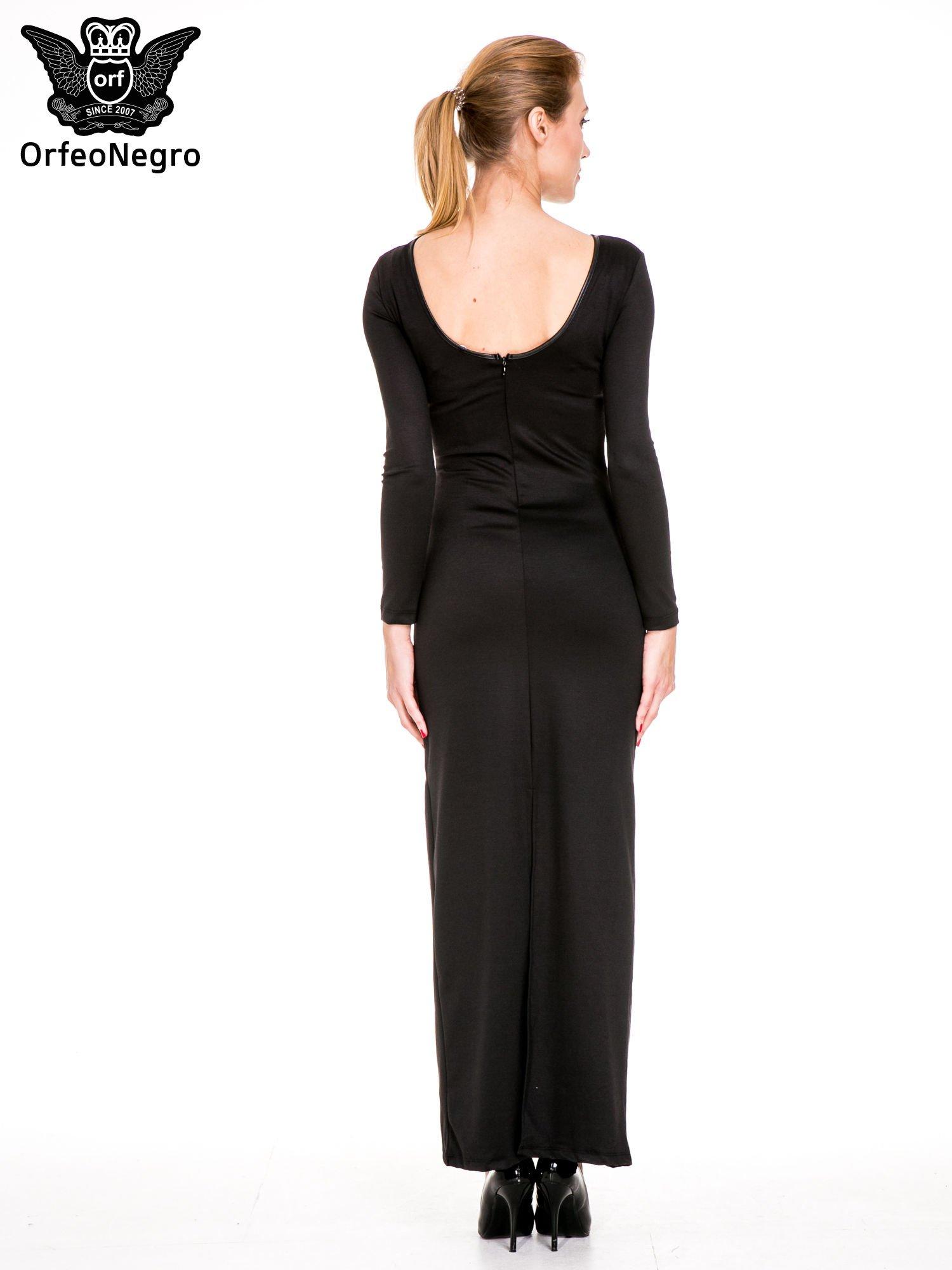 Czarna sukienka maxi z dekoltem na plecach                                  zdj.                                  4
