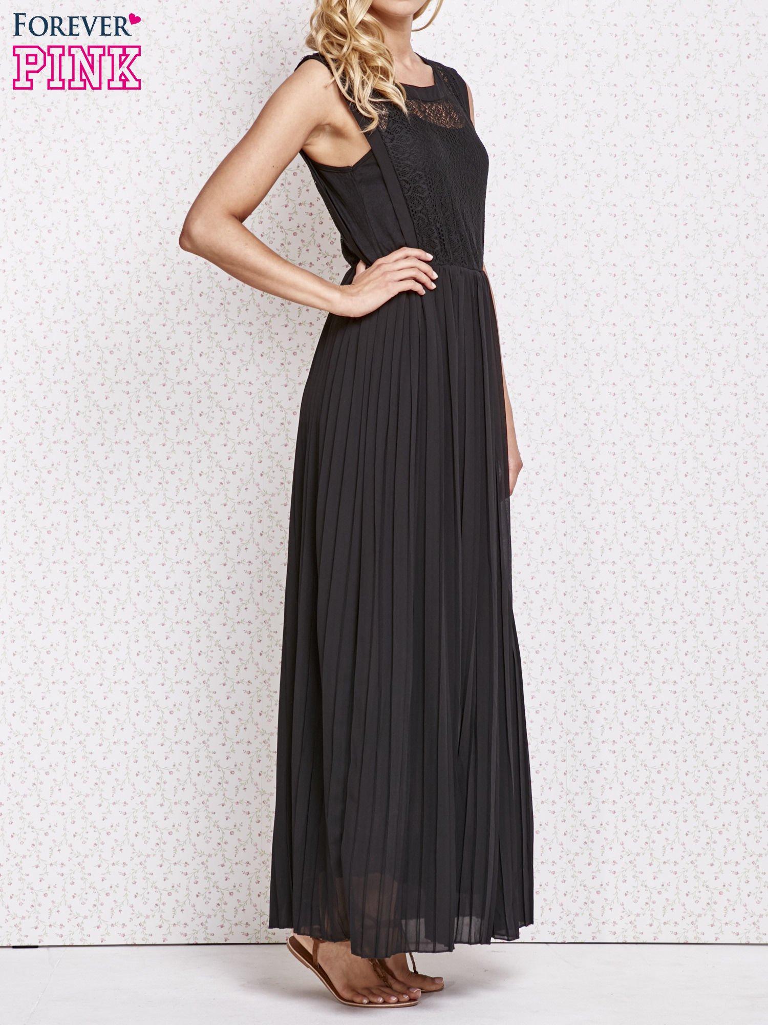 Czarna sukienka maxi z koronkowym przodem                                  zdj.                                  3