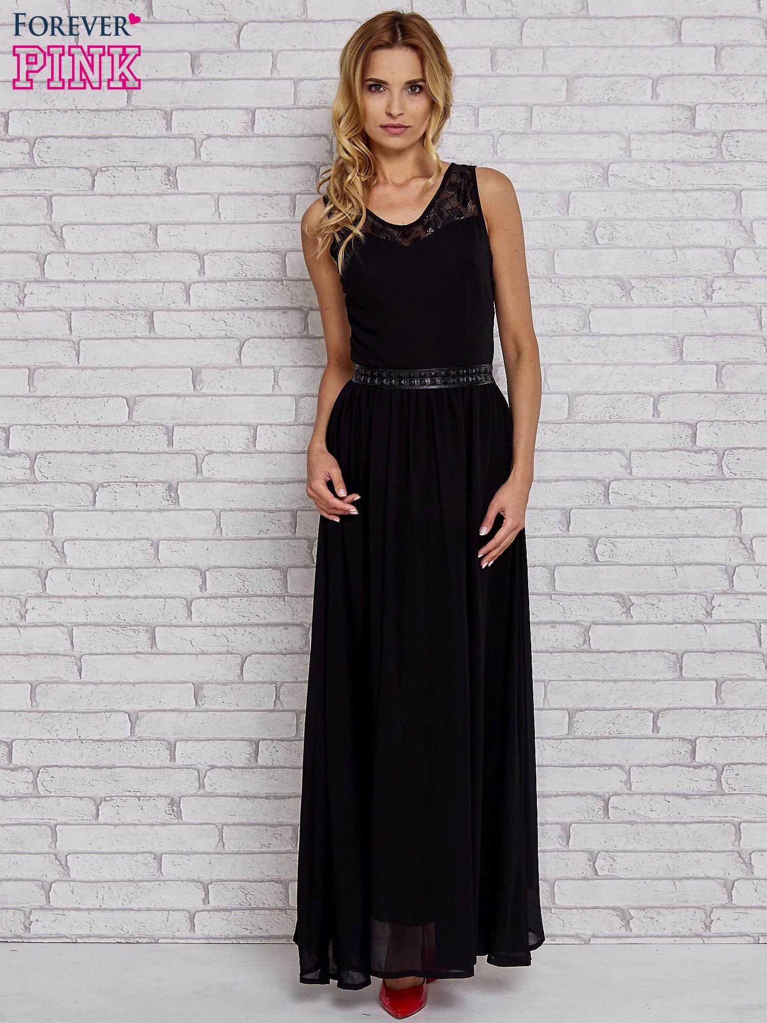 Czarna sukienka maxi ze skórzanym pasem a'la ćwieki                                  zdj.                                  4