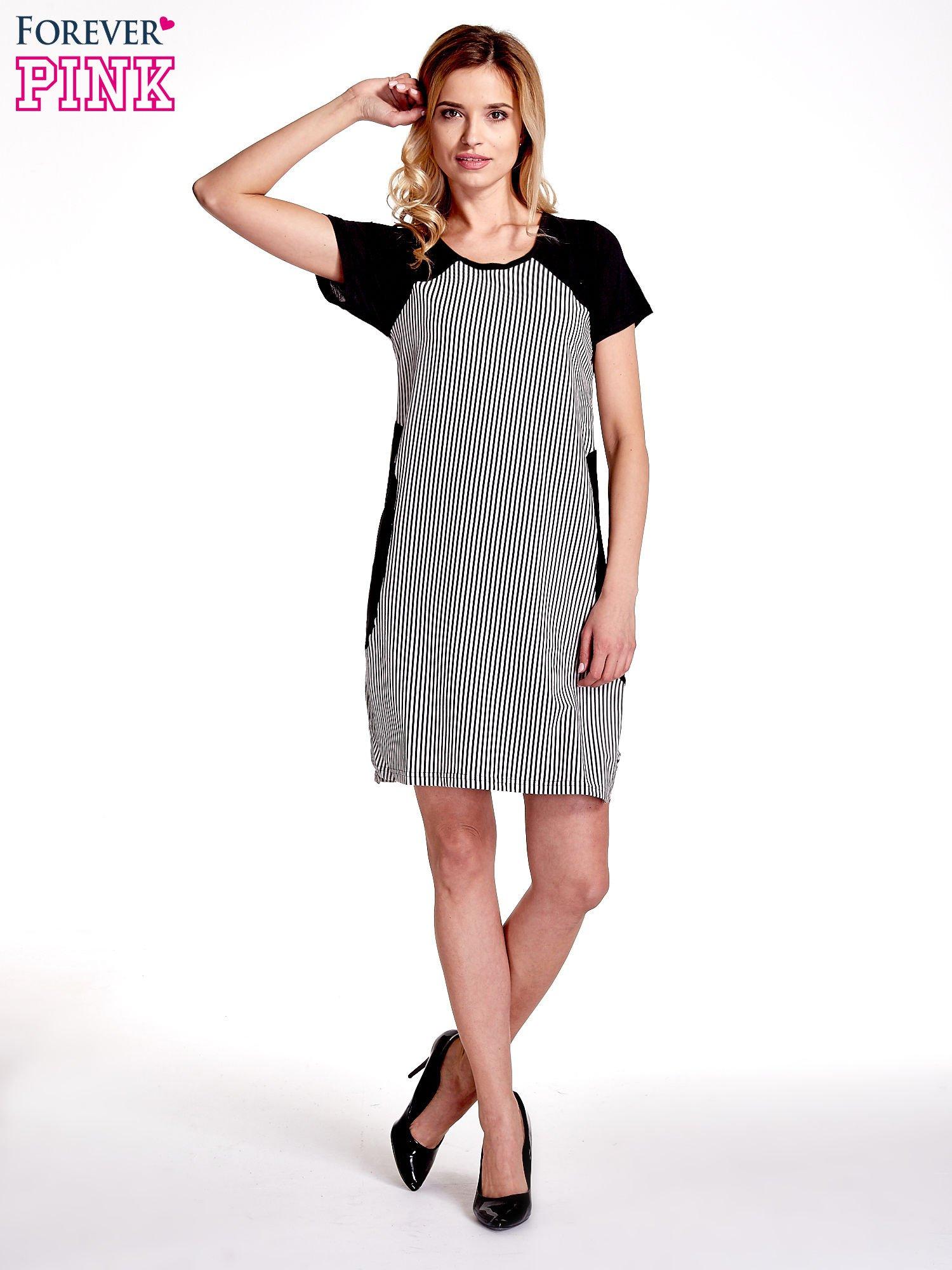Czarna sukienka w pionowe drobne paski                                  zdj.                                  7