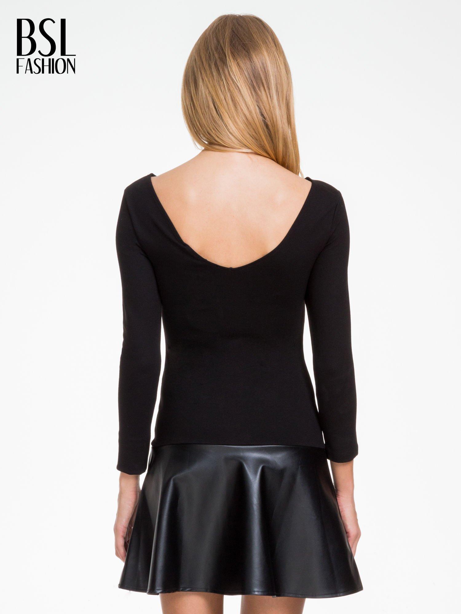 Czarna sukienka z rozkloszowanym dołem ze skóry                                  zdj.                                  2