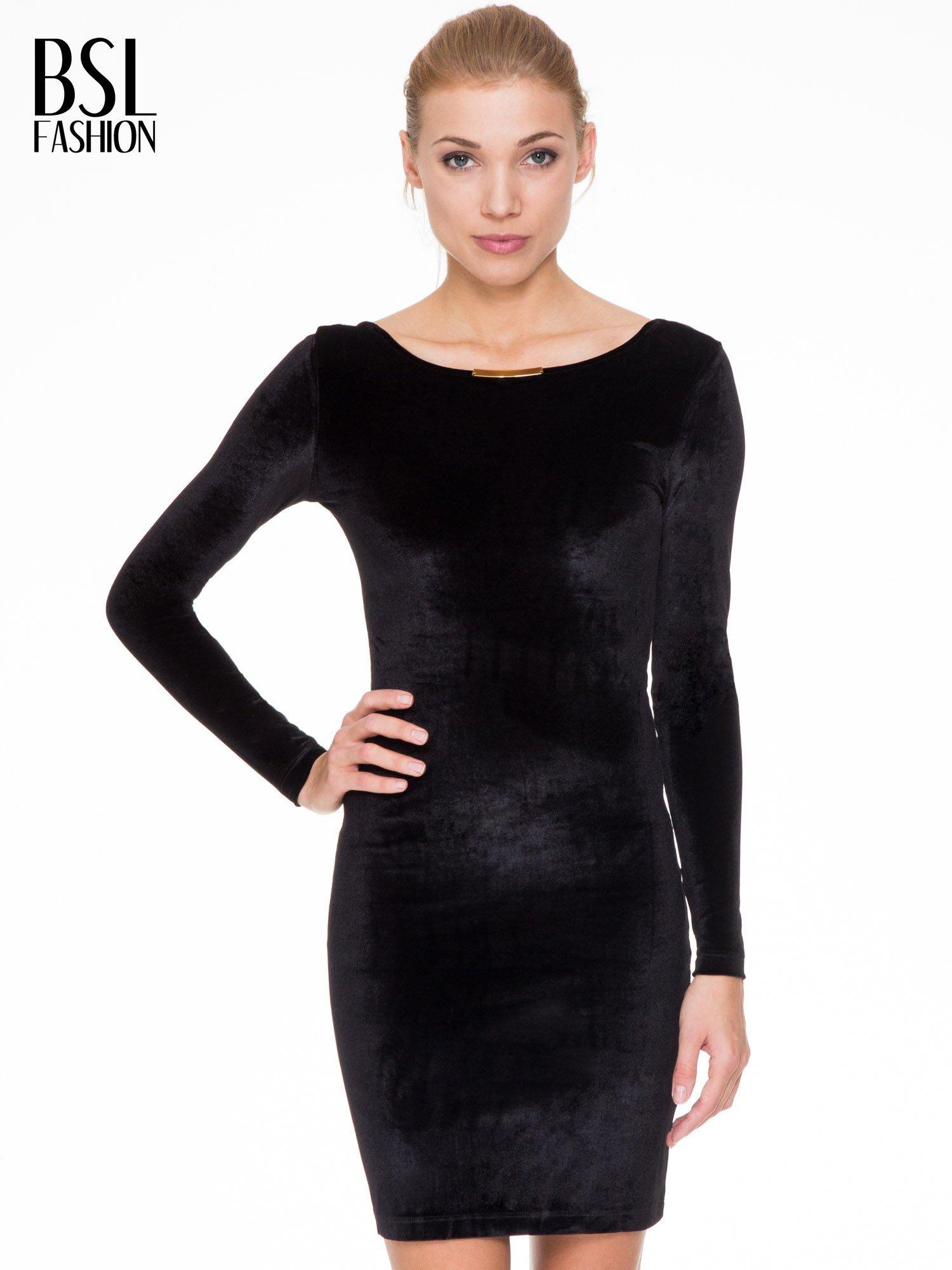 Czarna sukienka z welwetu z dekoltem open back                                  zdj.                                  1