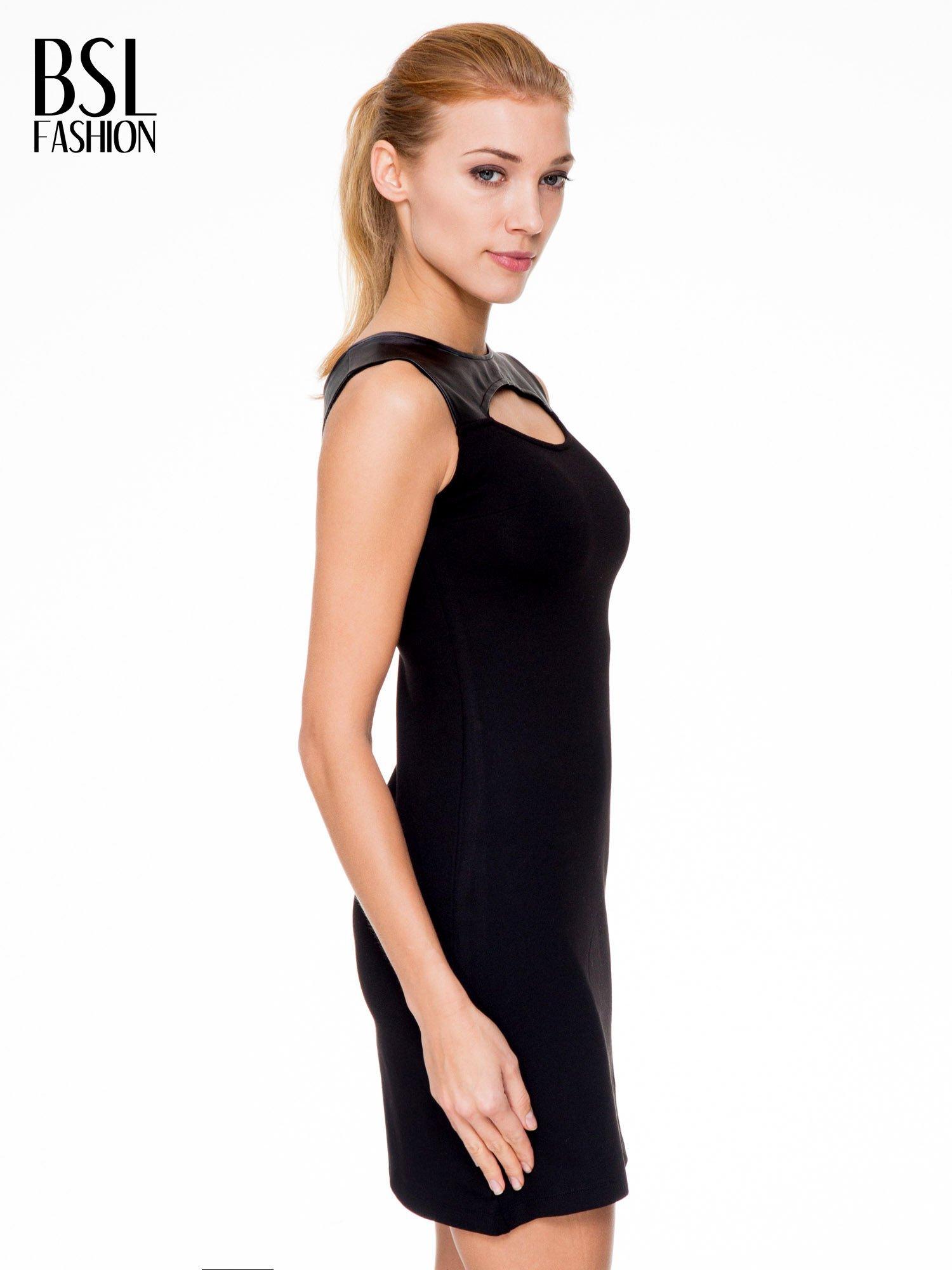 Czarna sukienka ze skórzaną górą i dekoltem typu cut out                                  zdj.                                  3