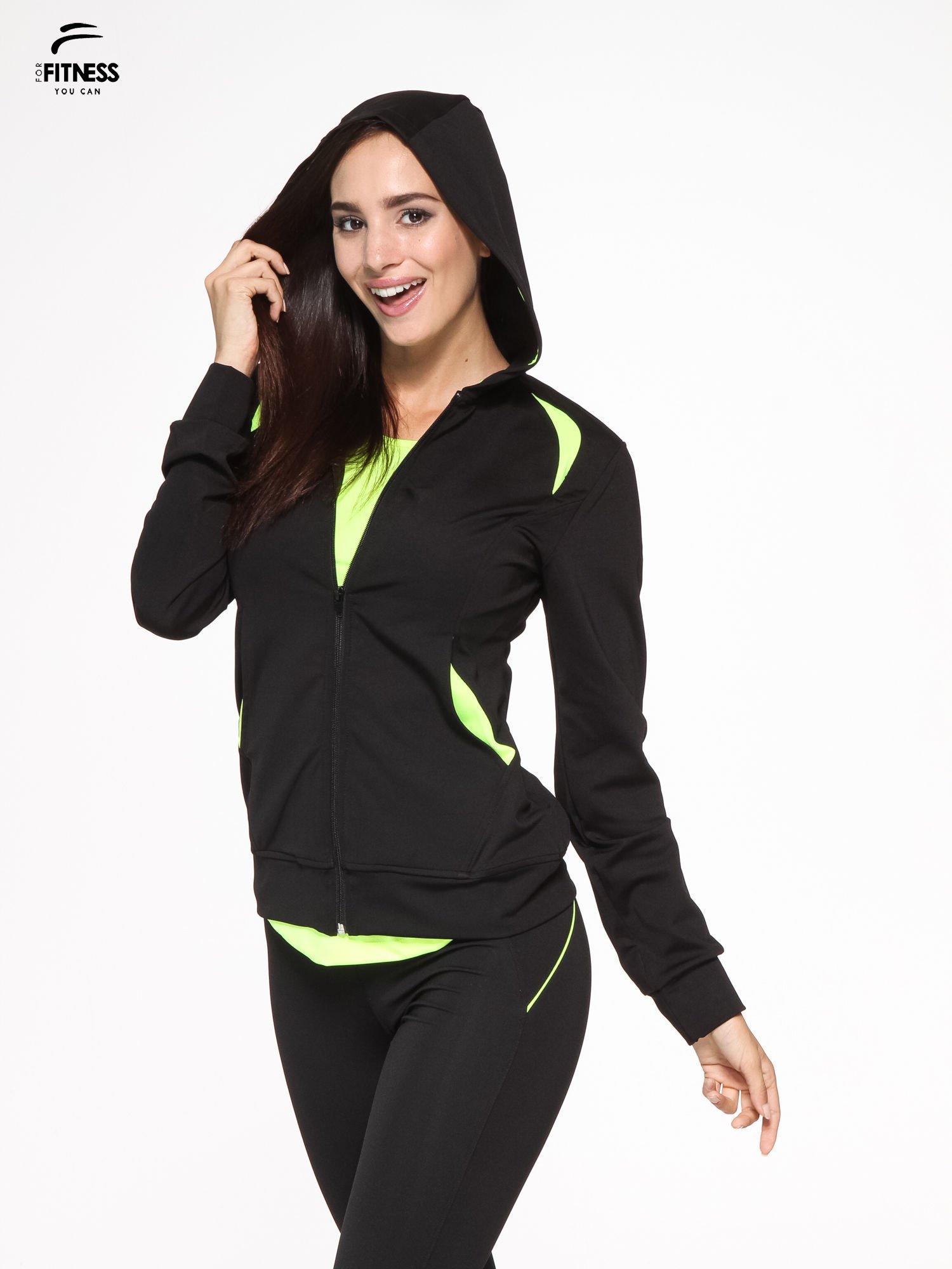 Czarna termoaktywna bluza do biegania z kapturem i fluozielonymi wstawkami ♦ Performance RUN                                  zdj.                                  3