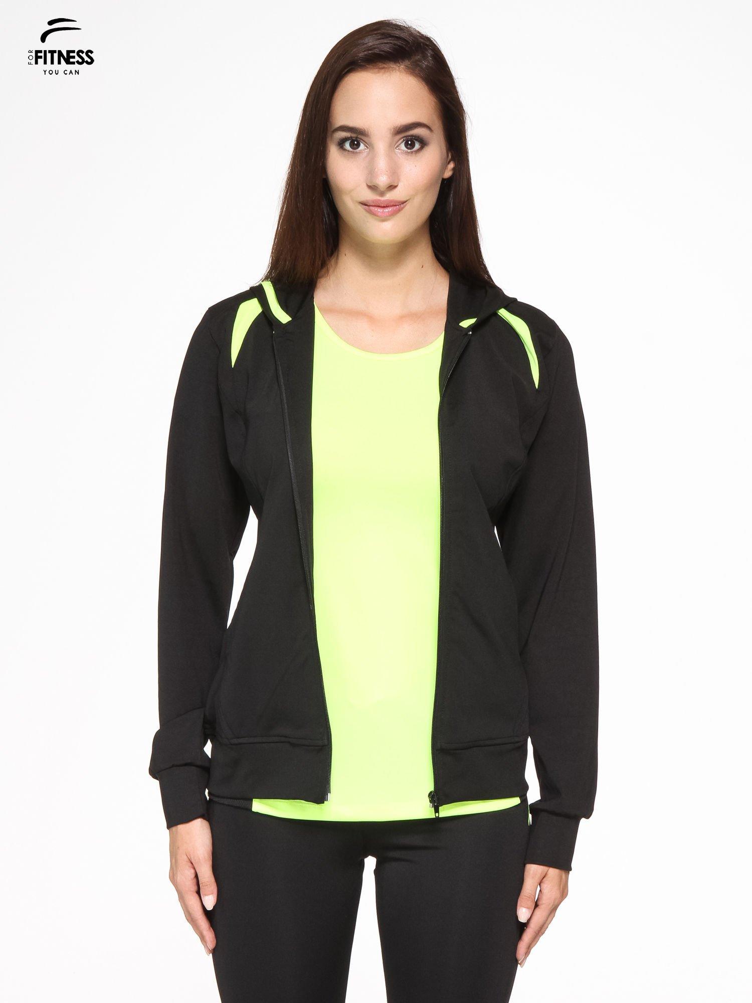 Czarna termoaktywna bluza do biegania z kapturem i fluozielonymi wstawkami ♦ Performance RUN                                  zdj.                                  7