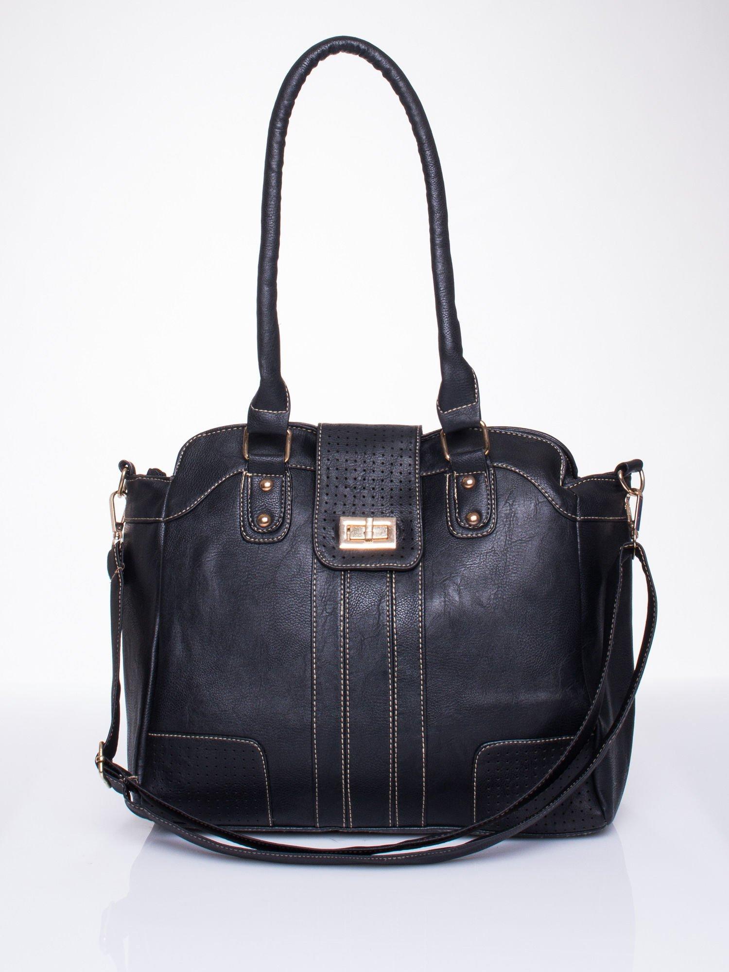 Czarna torba miejska z klapką                                  zdj.                                  1