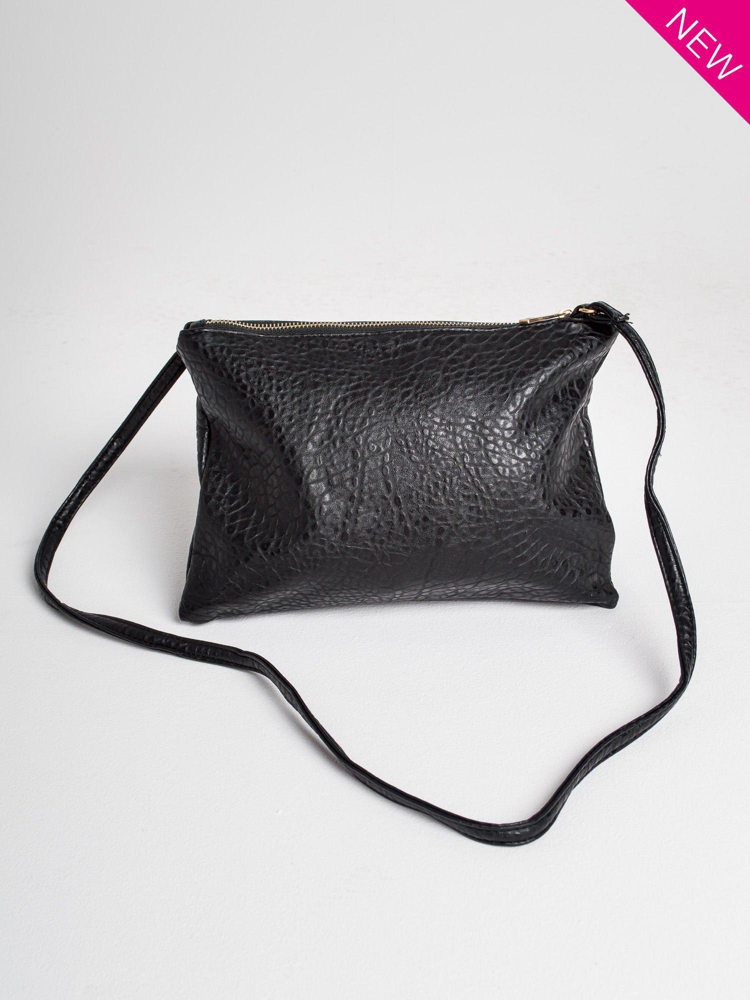 Czarna torebka dwukomorowa z paskiem                                  zdj.                                  1