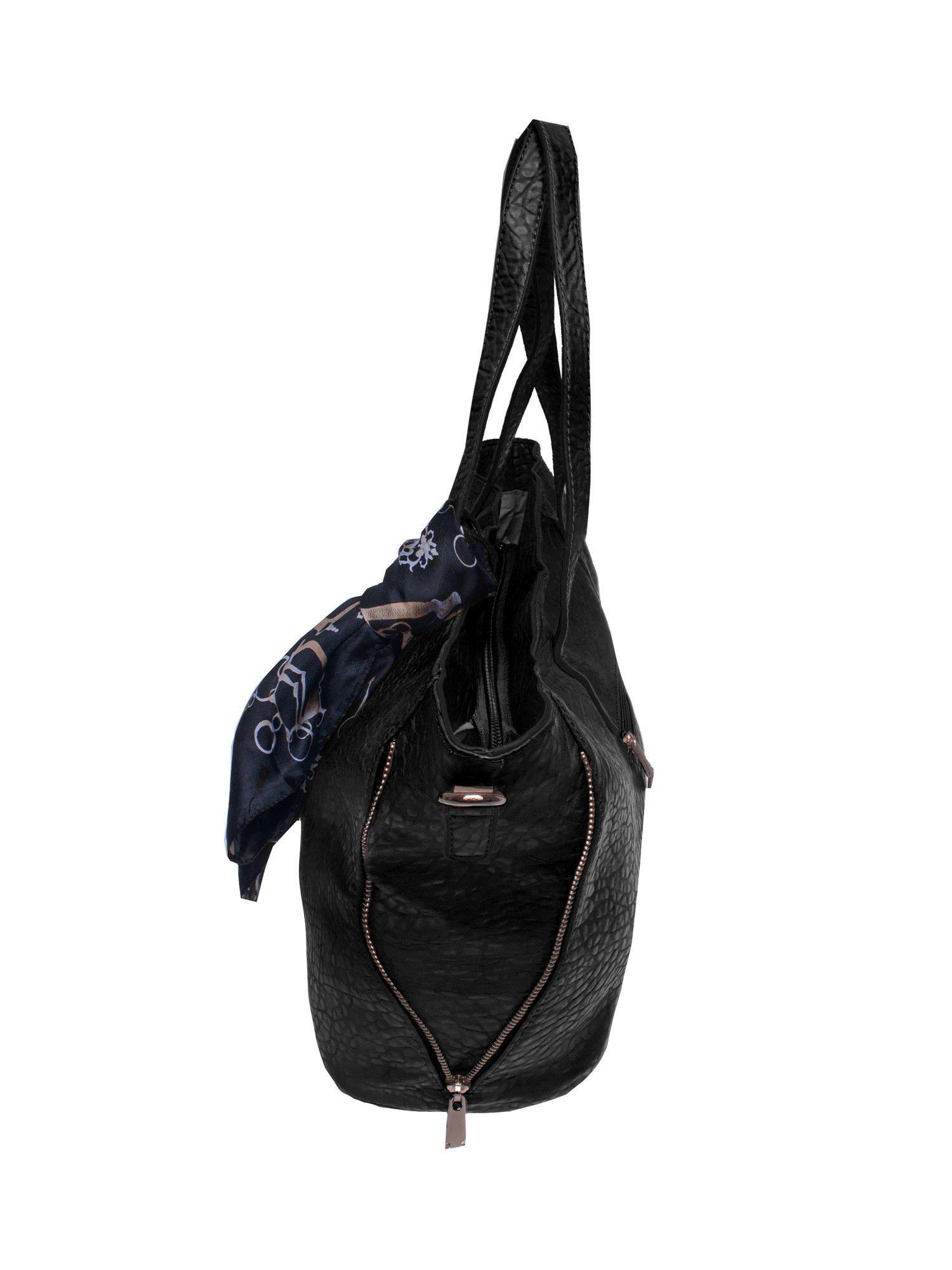 Czarna torebka shopper bag z apaszką                                  zdj.                                  3