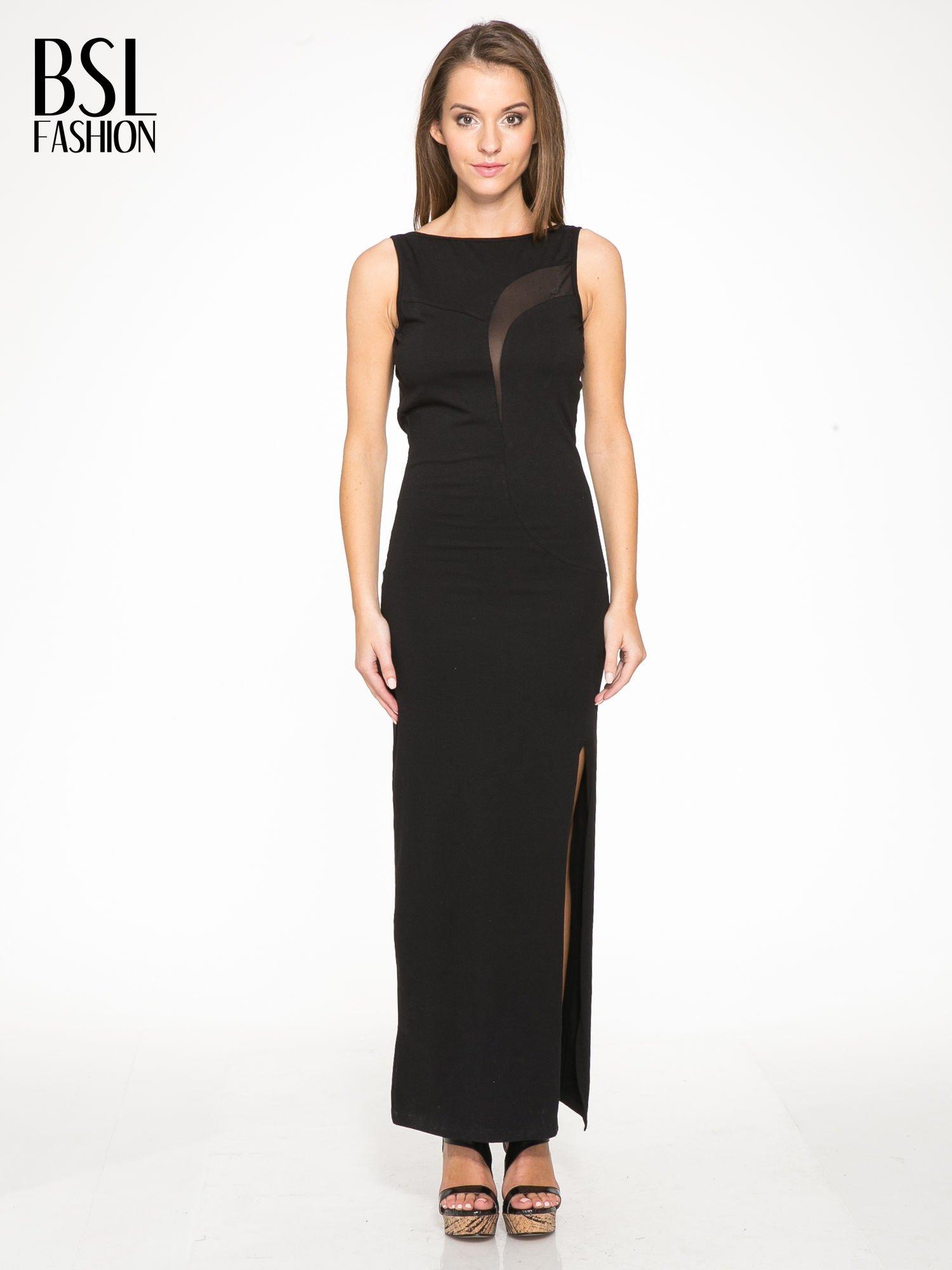 Czarna wieczorowa sukienka maxi z transparentną wstawką i dekoltem a plecach                                  zdj.                                  1