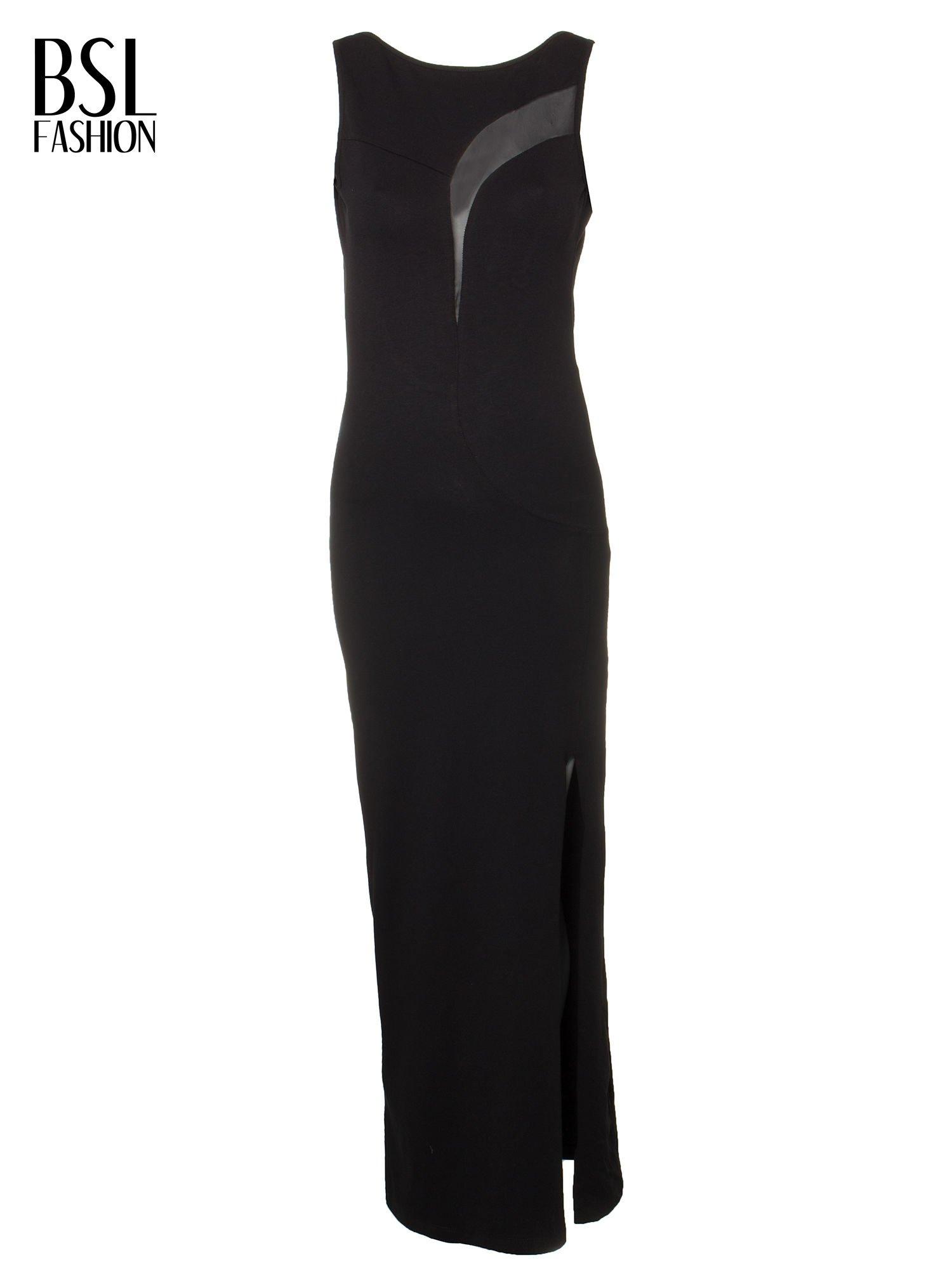 Czarna wieczorowa sukienka maxi z transparentną wstawką i dekoltem a plecach                                  zdj.                                  4