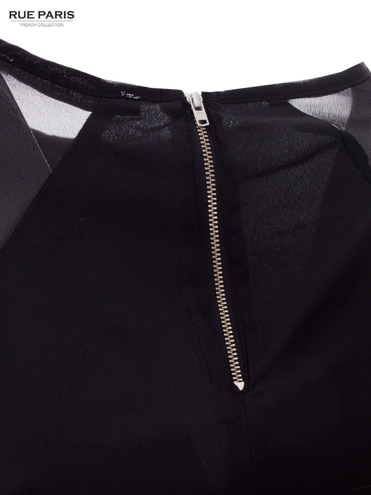 Czarna zwiewna koszula z dżetami                                  zdj.                                  5