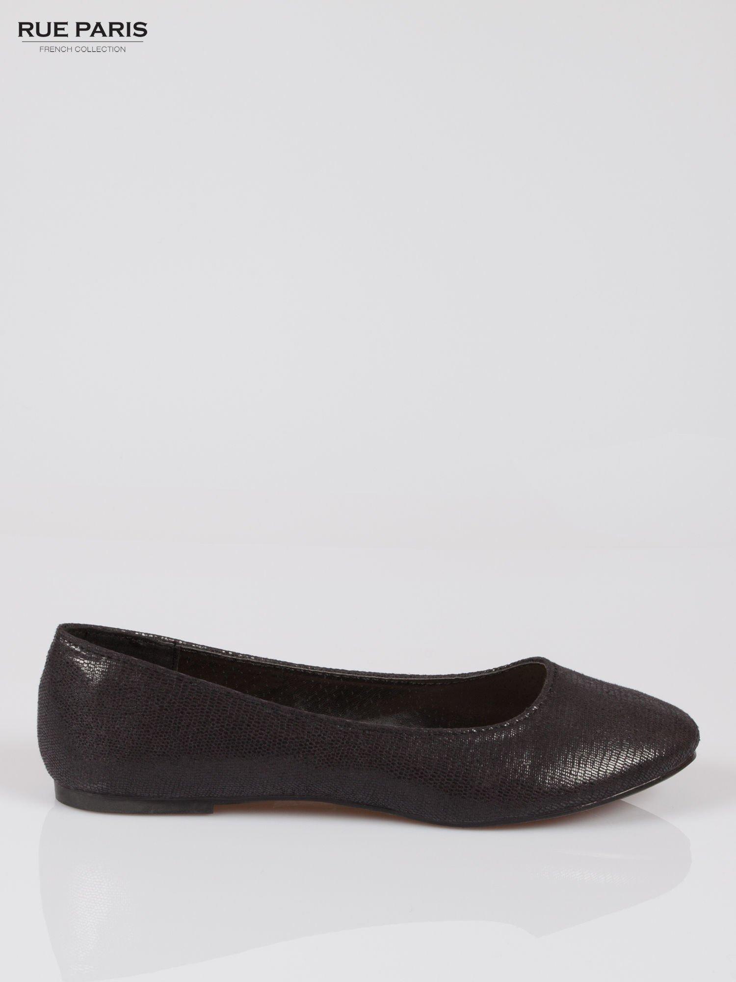 Czarne baleriny faux leather z efektem animal skin                                  zdj.                                  1