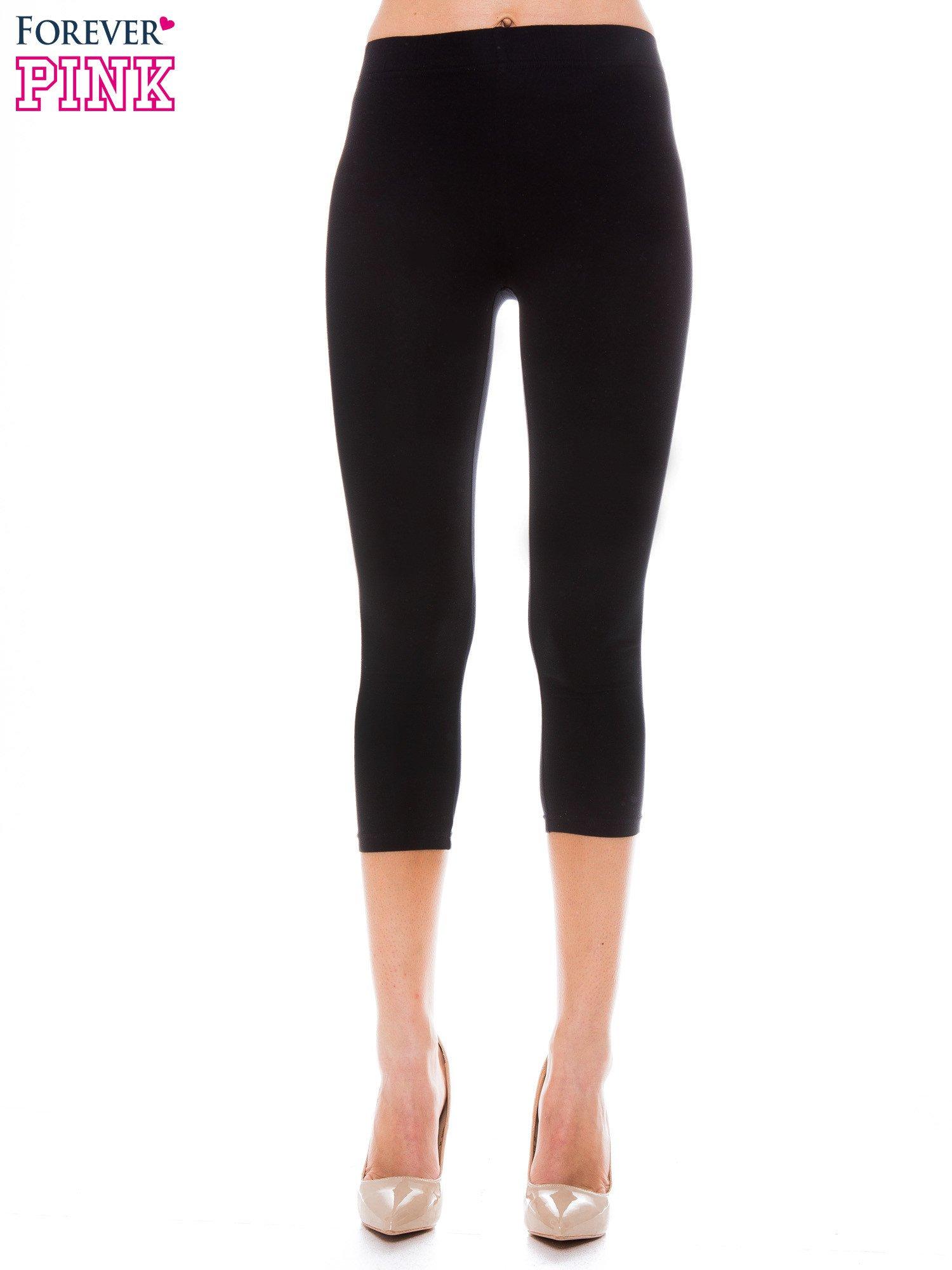 3a1d535e0eff0b Czarne bawełniane legginsy 3/4 - Spodnie legginsy - sklep eButik.pl