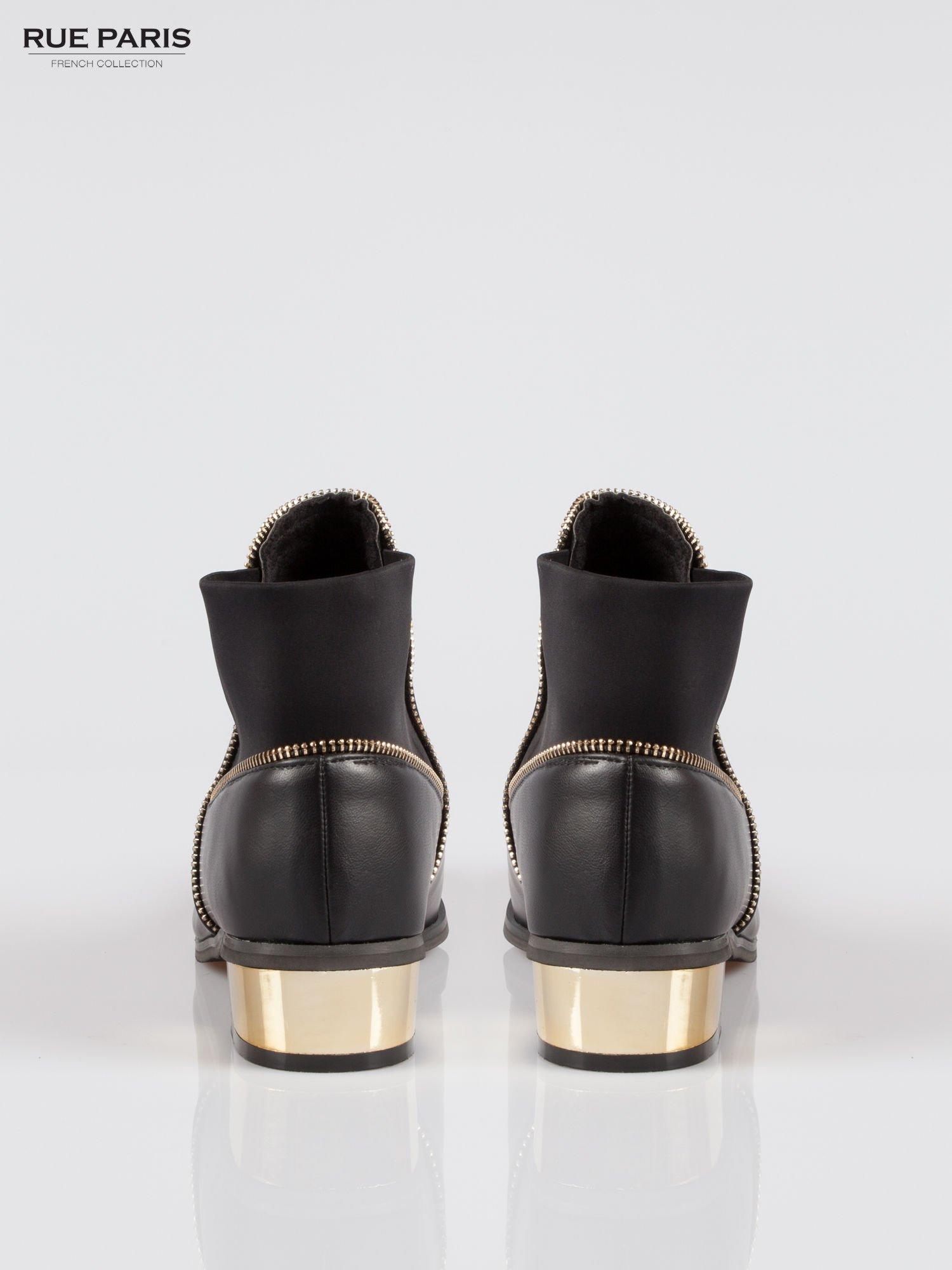 Czarne botki ankle boots z zamkiem i złotym obcasem                                  zdj.                                  3