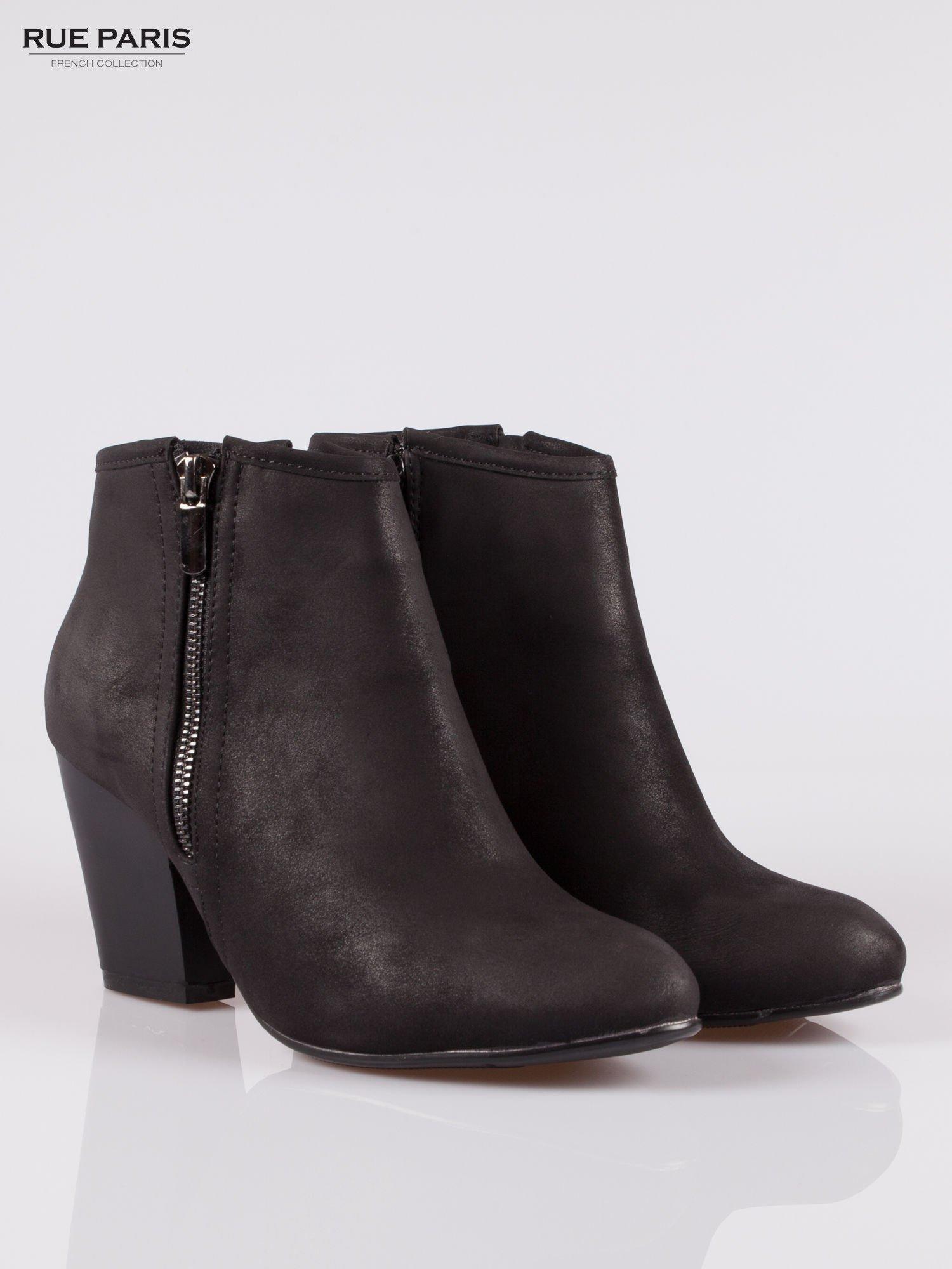 Czarne botki ankle heels na słupku z zamkami po obu stronach                                  zdj.                                  2