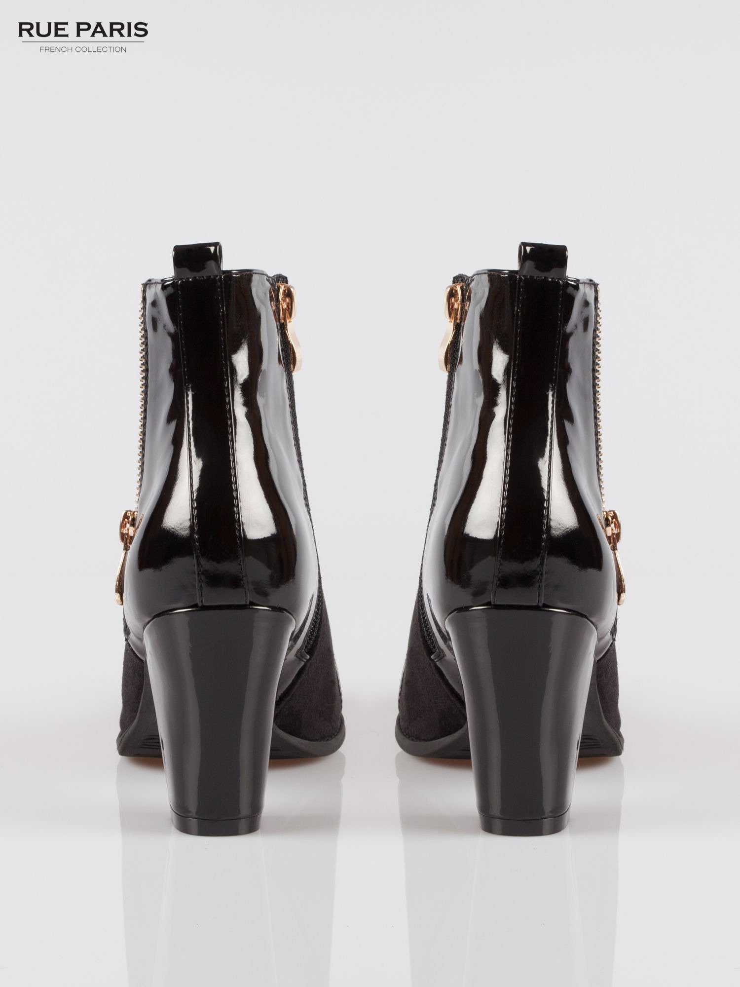 Czarne botki na obcasie z lakierowanym noskiem i zapiętkiem                                  zdj.                                  3