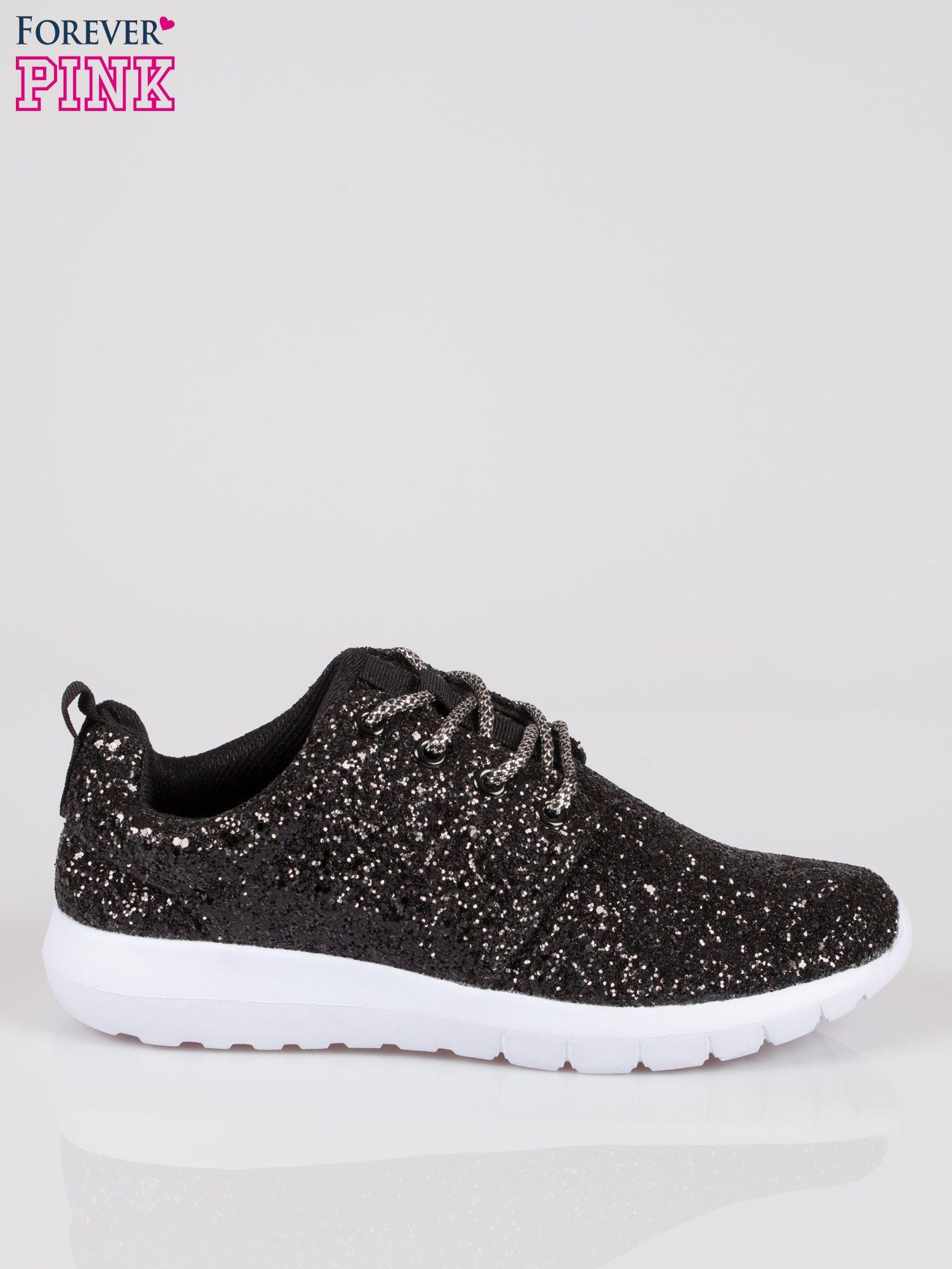 Czarne buty sportowe textile Crummy z brokatowym efektem                                  zdj.                                  1