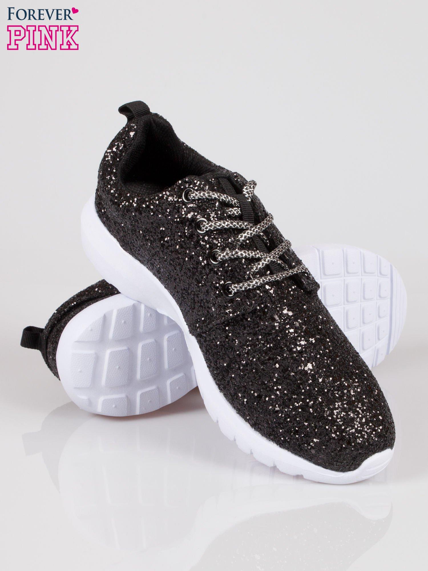 Czarne buty sportowe textile Crummy z brokatowym efektem                                  zdj.                                  4