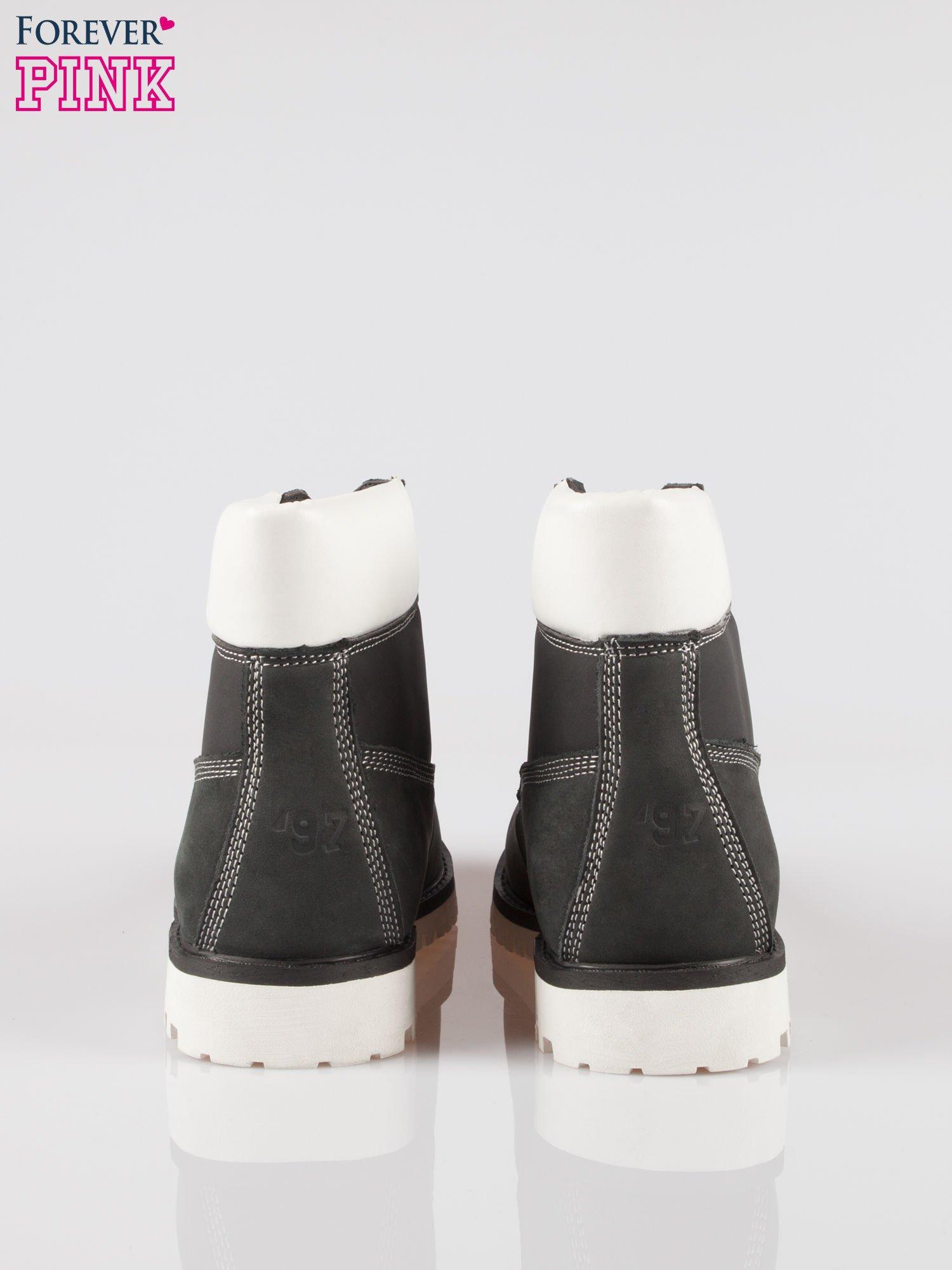 Czarne buty trekkingowe traperki damskie ze skóry naturalnej                                  zdj.                                  3