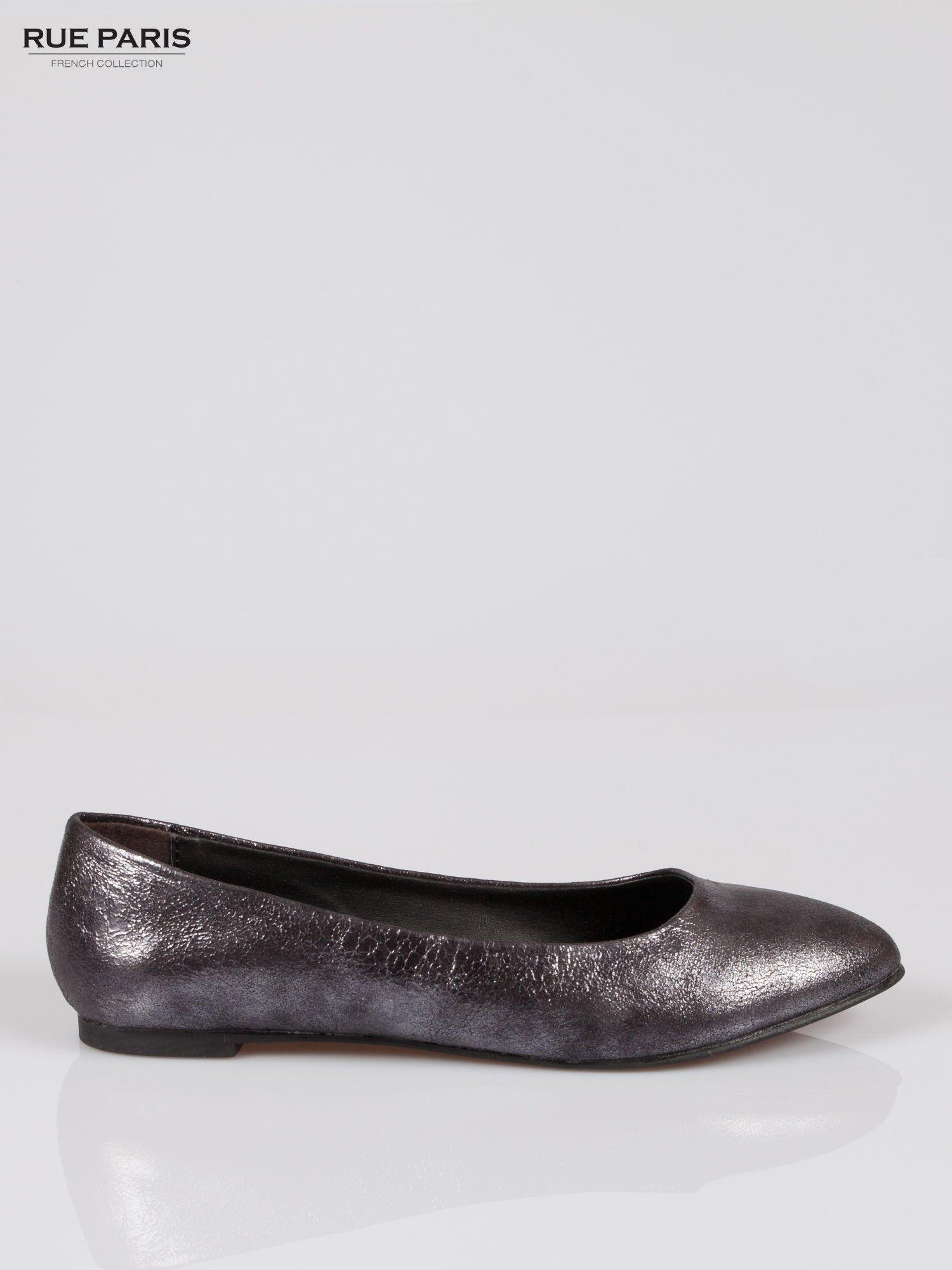 Czarne cieniowane baleriny faux leather ze smukłym noskiem                                  zdj.                                  1