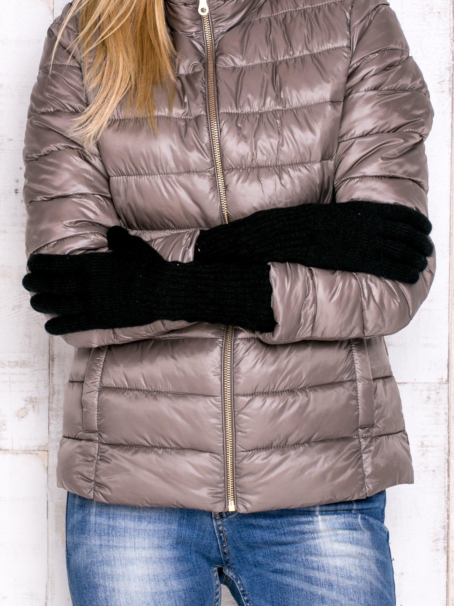 Czarne długie rękawiczki z drapowanym rękawem                                  zdj.                                  2