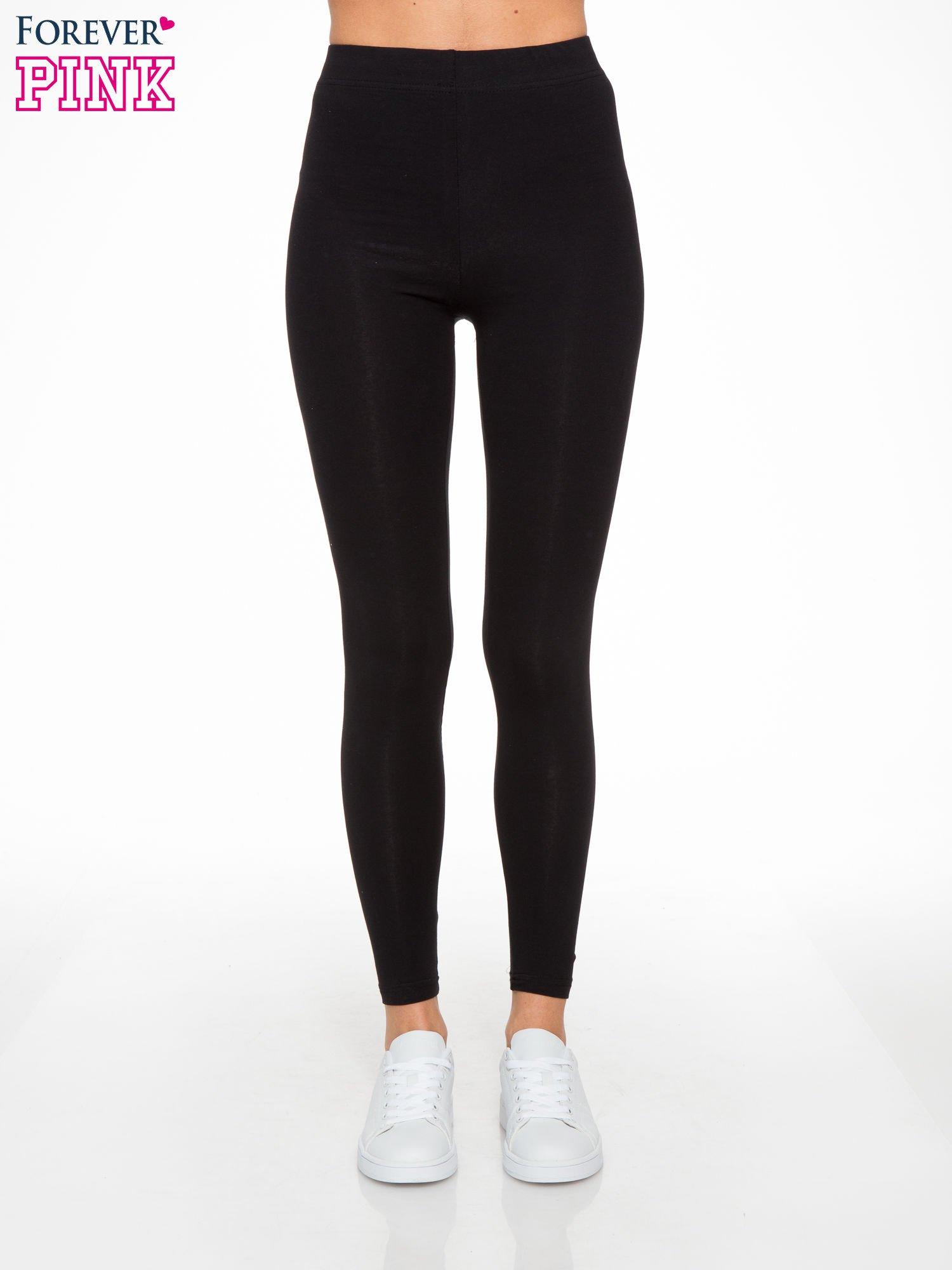 Czarne elastyczne legginsy damskie z bawełny                                  zdj.                                  1
