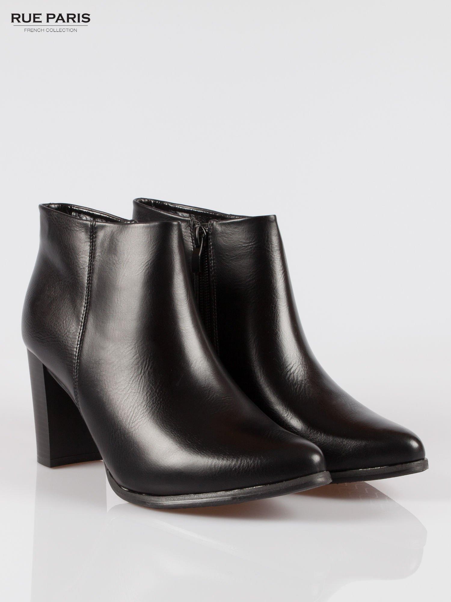 Czarne eleganckie botki na słupkowym obcasie                                  zdj.                                  2