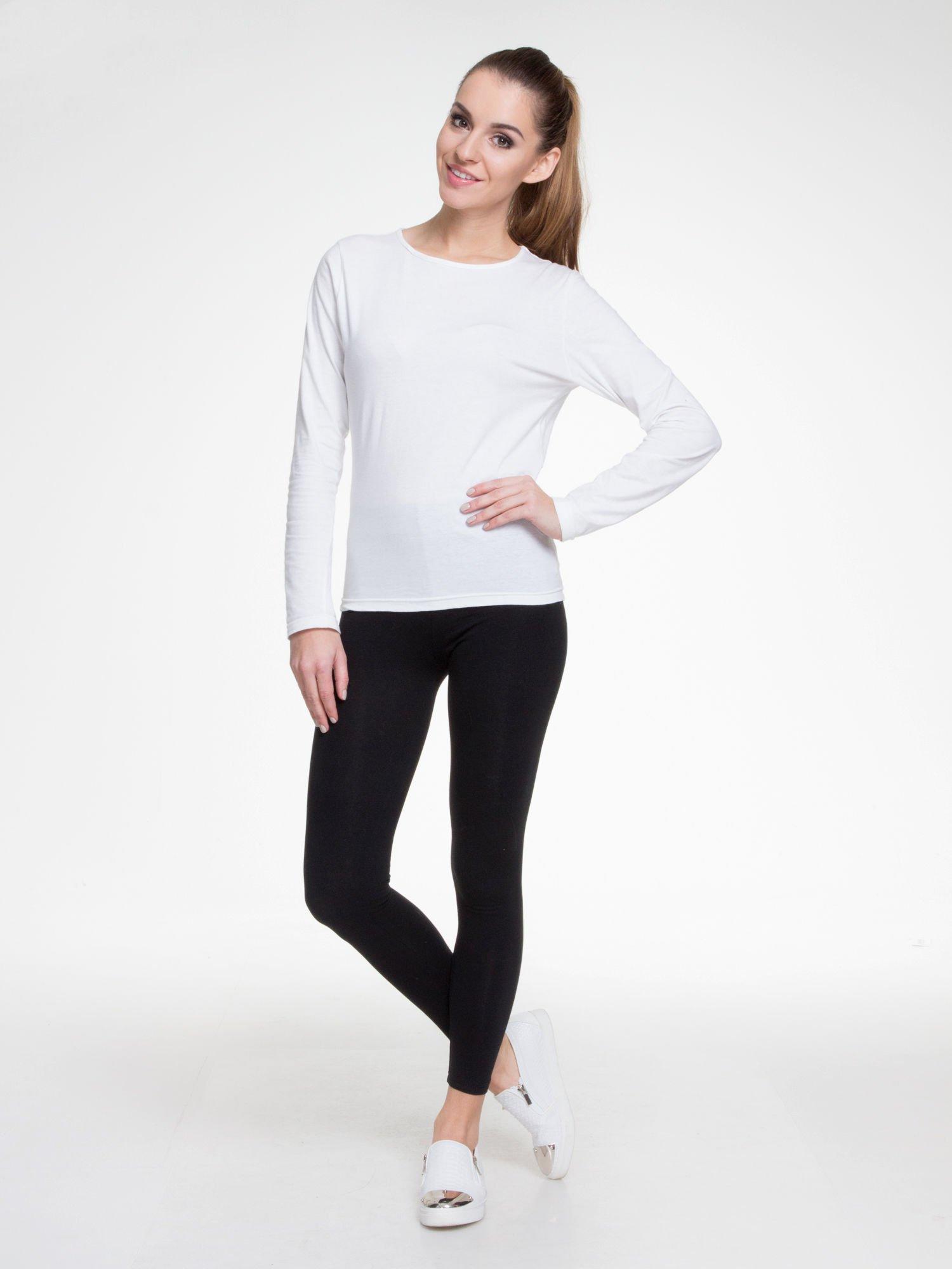 Czarne gładkie elastyczne legginsy                                  zdj.                                  2