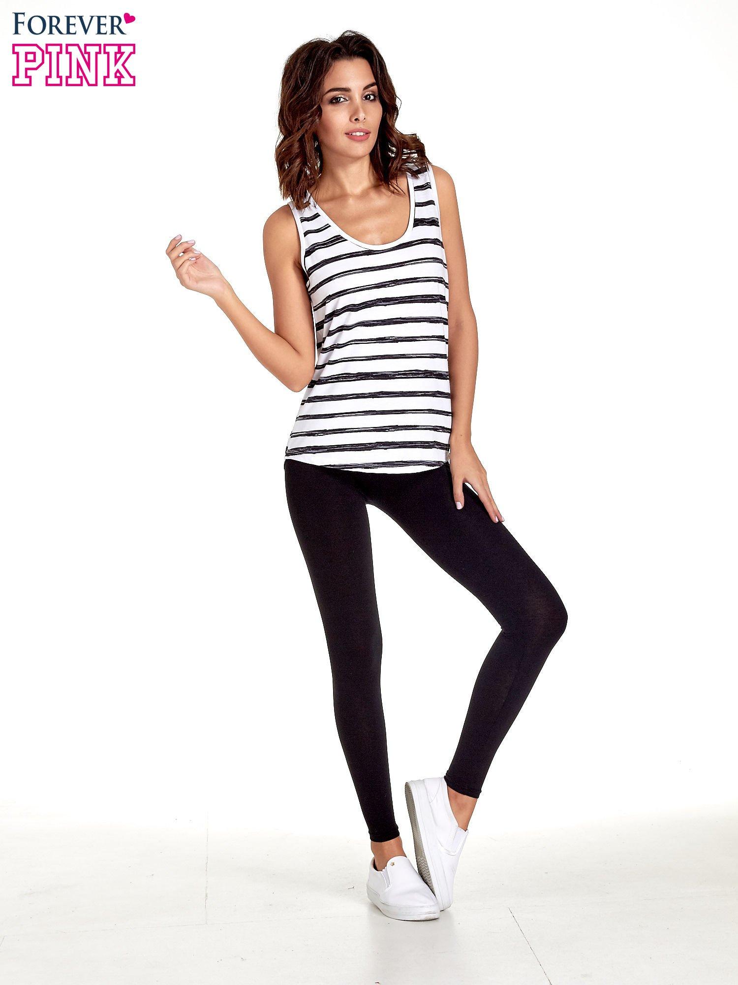 Czarne gładkie legginsy damskie basic                                  zdj.                                  4