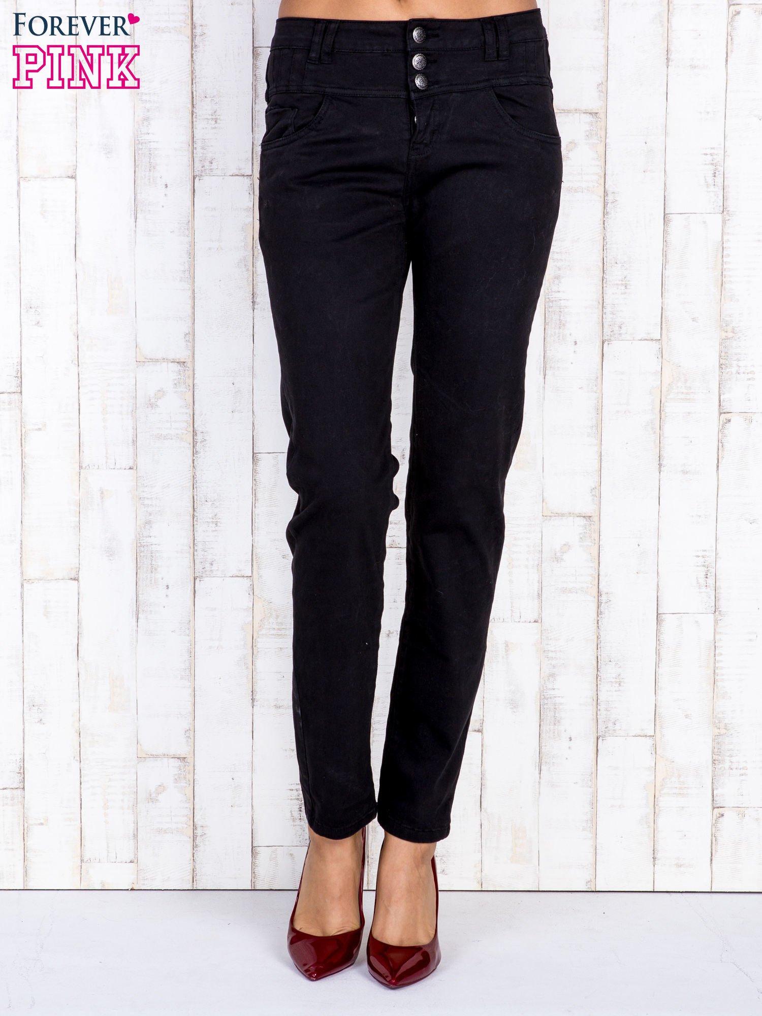 Czarne jeansowe spodnie skinny z wysokim stanem                                  zdj.                                  1