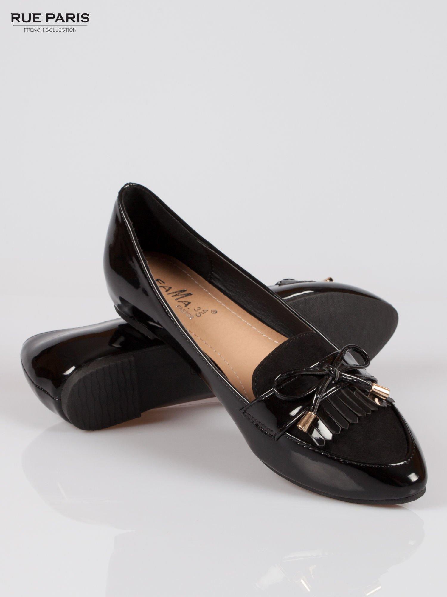Czarne lakierowane mokasyny faux polish leather z kokardką                                  zdj.                                  4