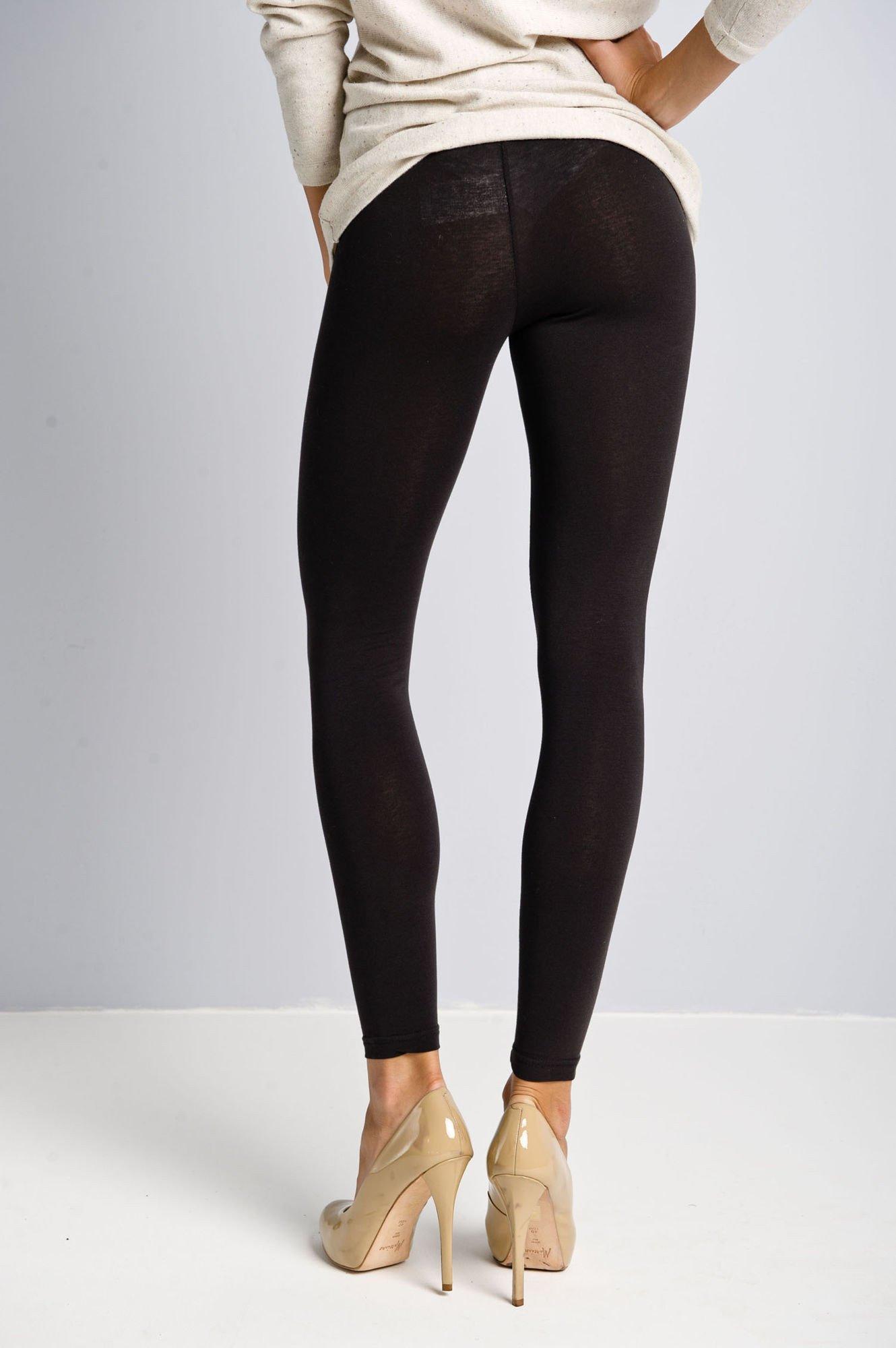 Czarne legginsy bawełniane z gumką w pasie                                  zdj.                                  3
