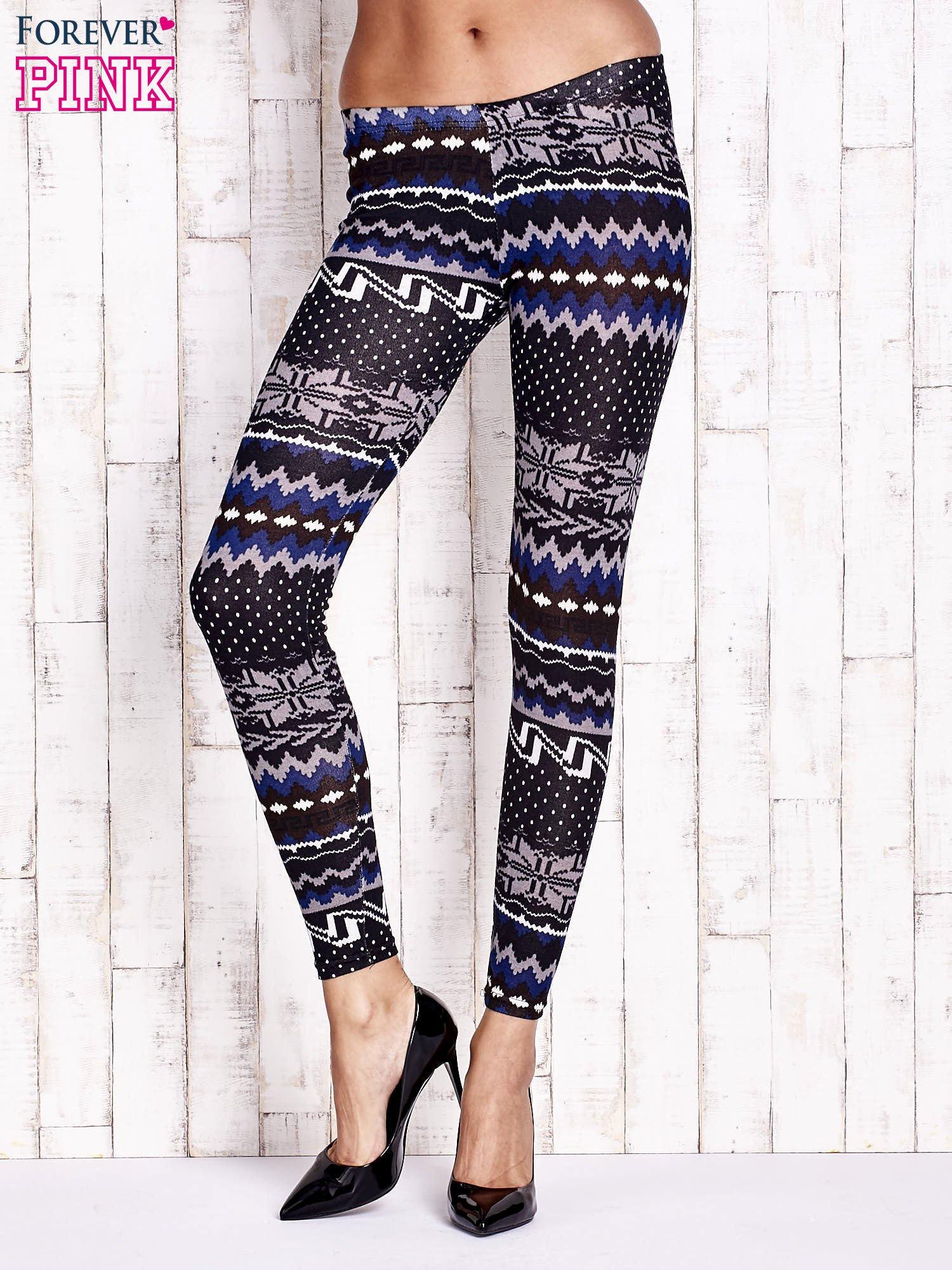Czarne legginsy w zimowy motyw                                  zdj.                                  1