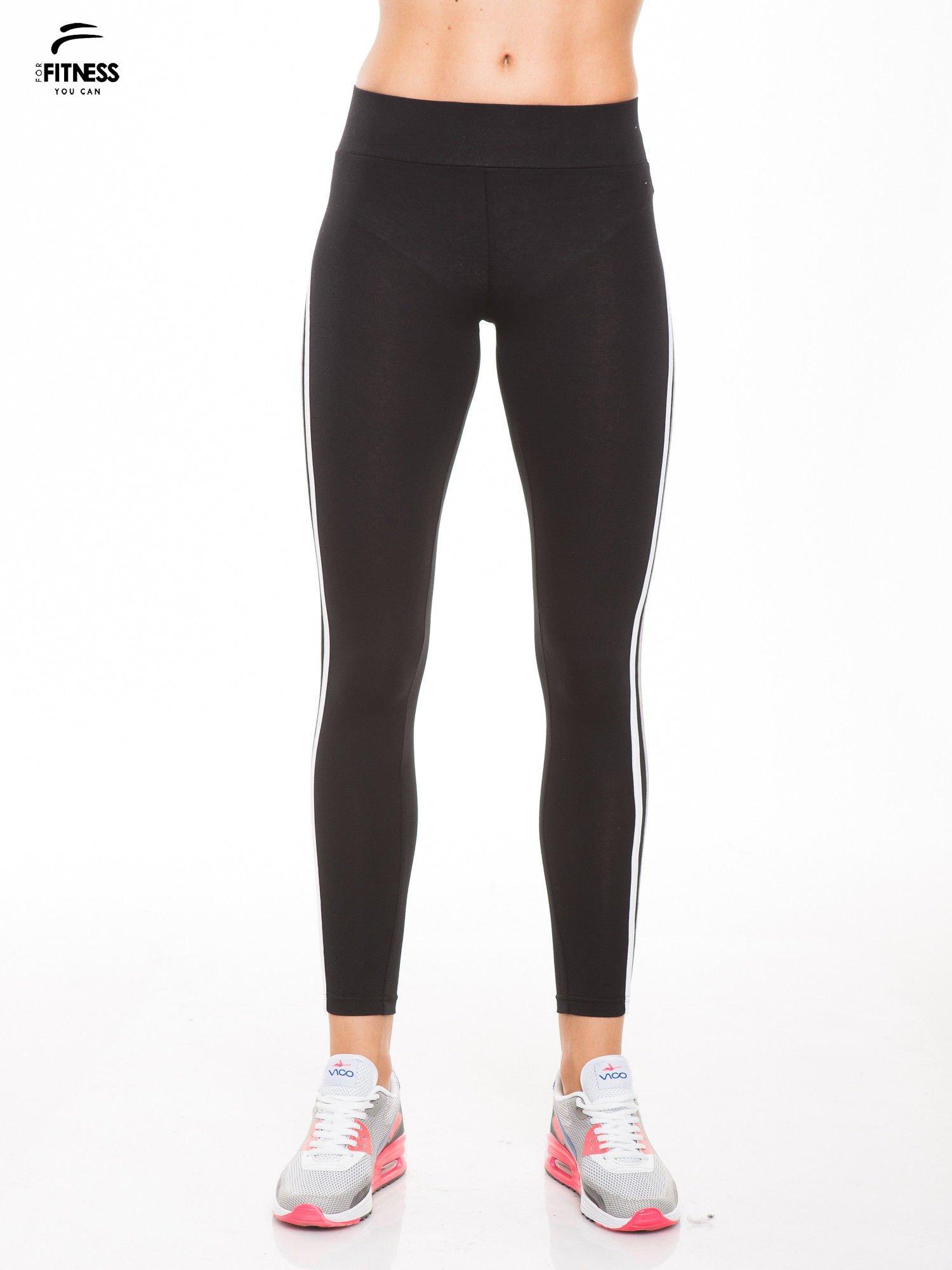 Czarne legginsy z biało-szarymi lampasami                                  zdj.                                  1