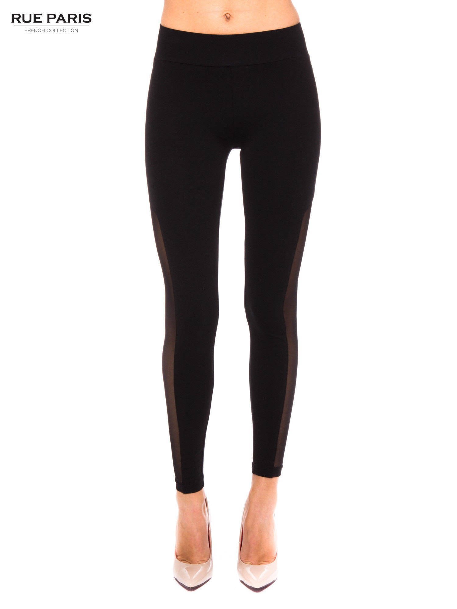Czarne legginsy z tiulową siateczką                                   zdj.                                  1