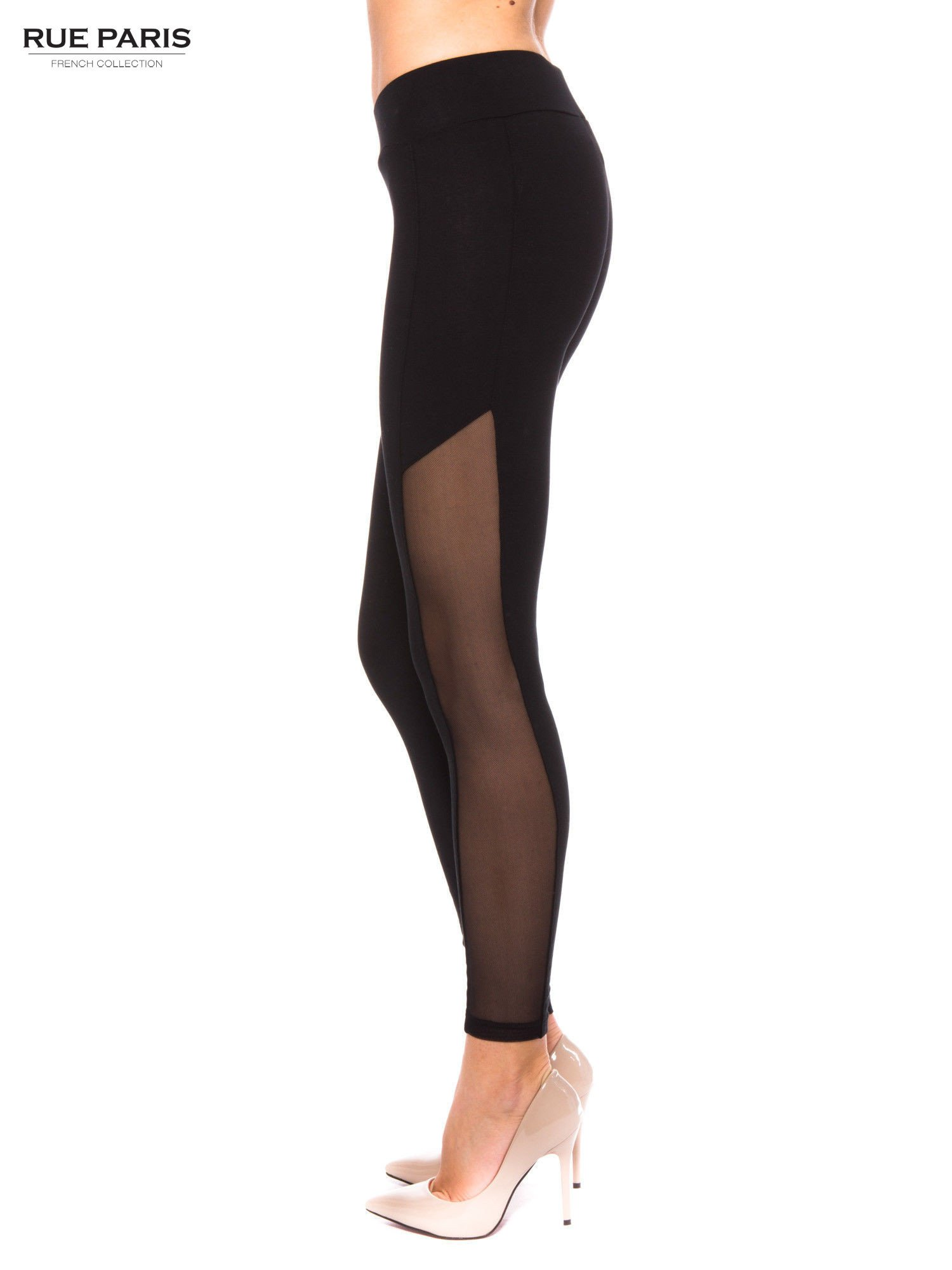 Czarne legginsy z tiulową siateczką                                   zdj.                                  2